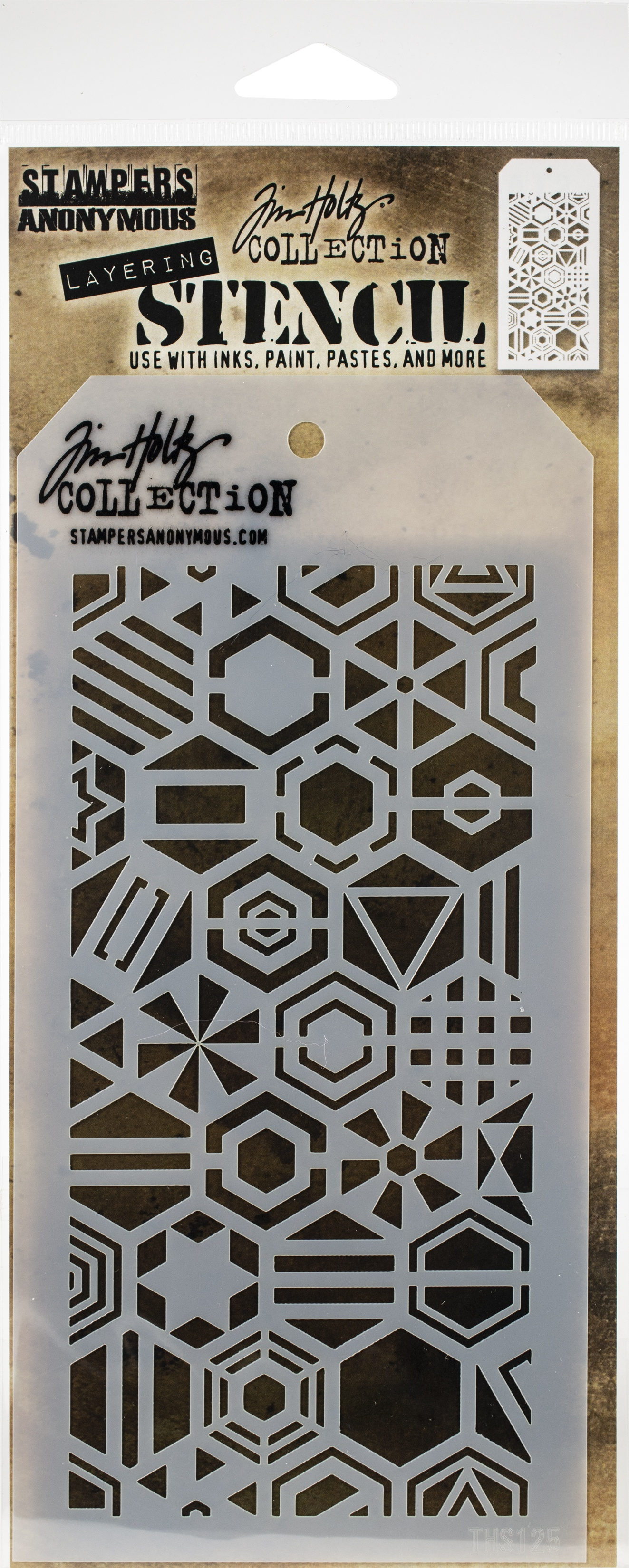Tim Holtz Layered Stencil 4.125X8.5-Patchwork Hex