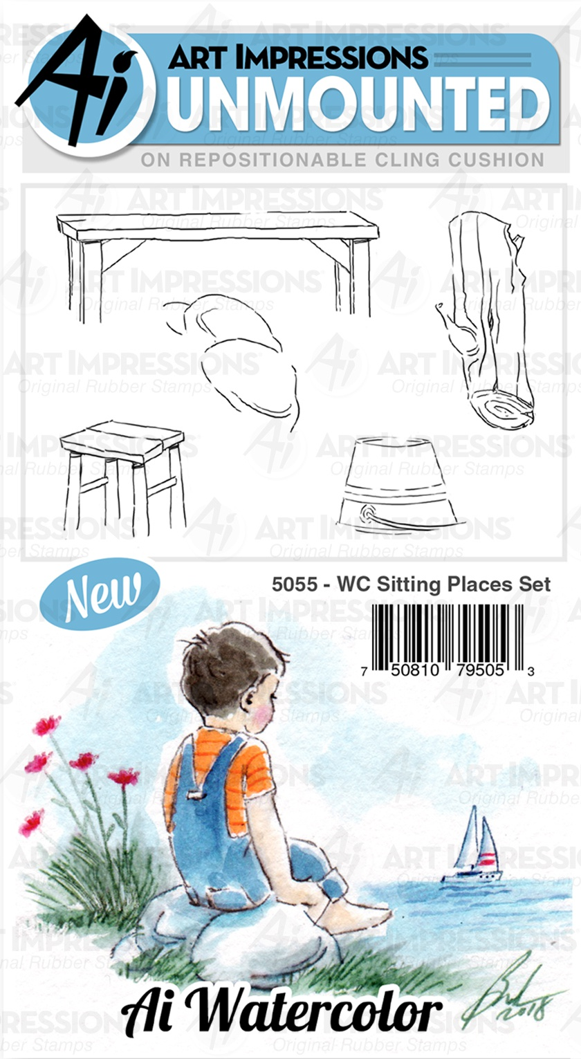 Art Impressions Watercolor Cling Rubber Stamps-Sitting Places