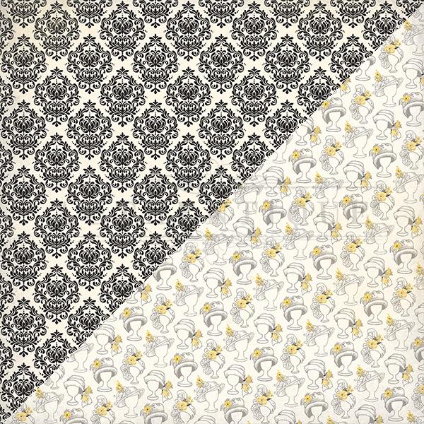 Poised Double-Sided Cardstock 12X12-#2 Black & White Damask