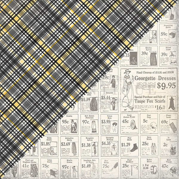 Poised Double-Sided Cardstock 12X12-#4 Black Plaid