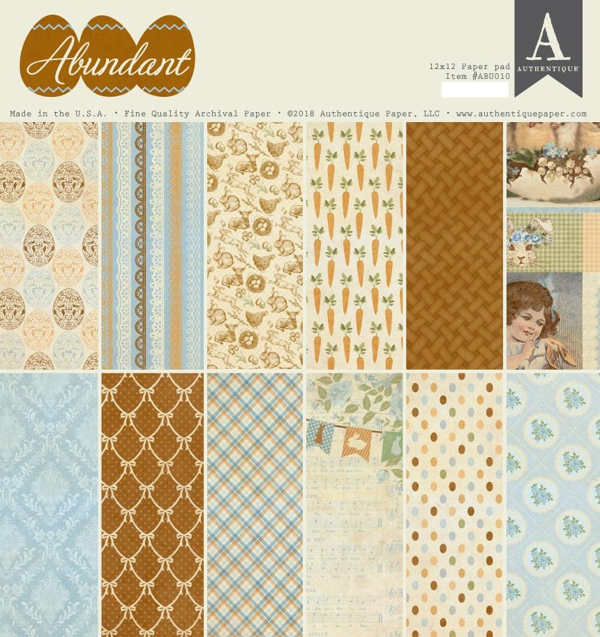 Authentique Double-Sided Cardstock Pad 12X12 18/Pkg-Abundant, 6 Designs/3 Each