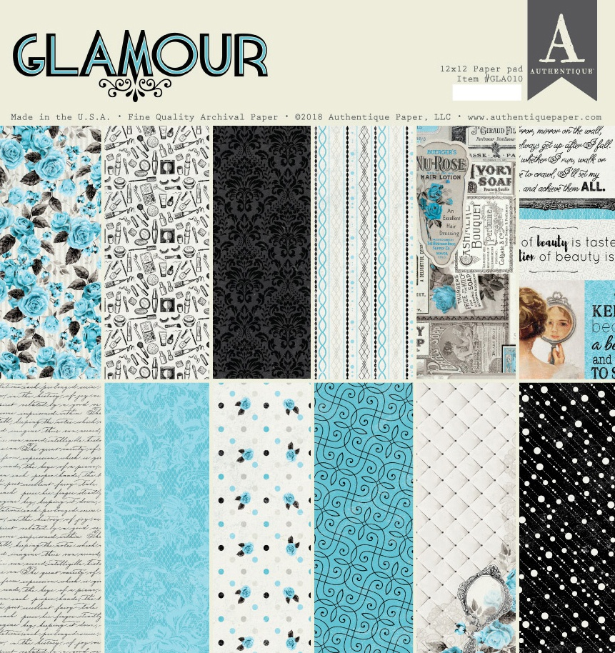 Authentique Double-Sided Cardstock Pad 12X12 18/Pkg-Glamour, 6 Designs/3 Each