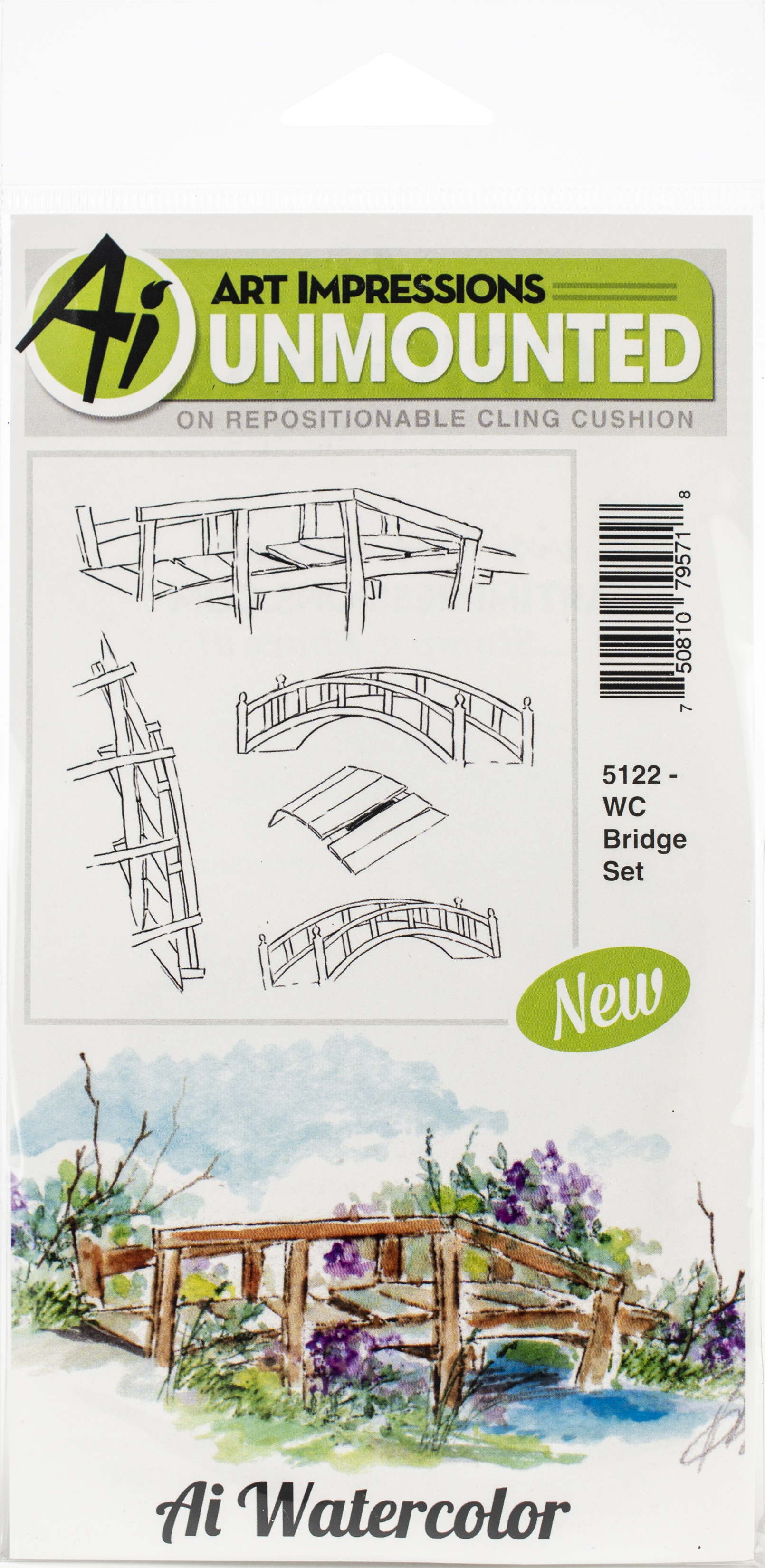 Art Impressions Watercolor Cling Rubber Stamps-Bridge Set