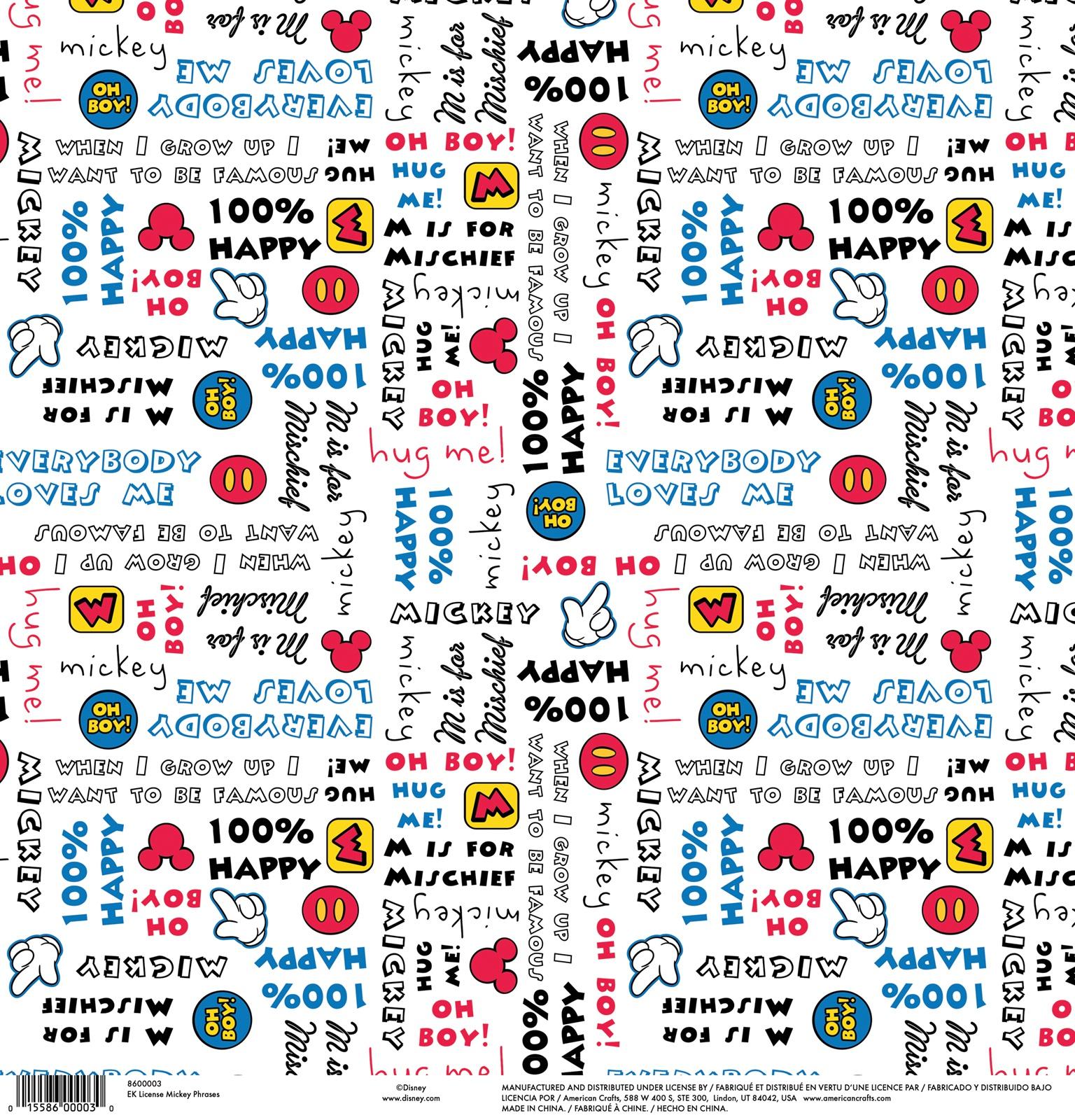 EK Disney Single-Sided Cardstock 12X12-Mickey Phrases