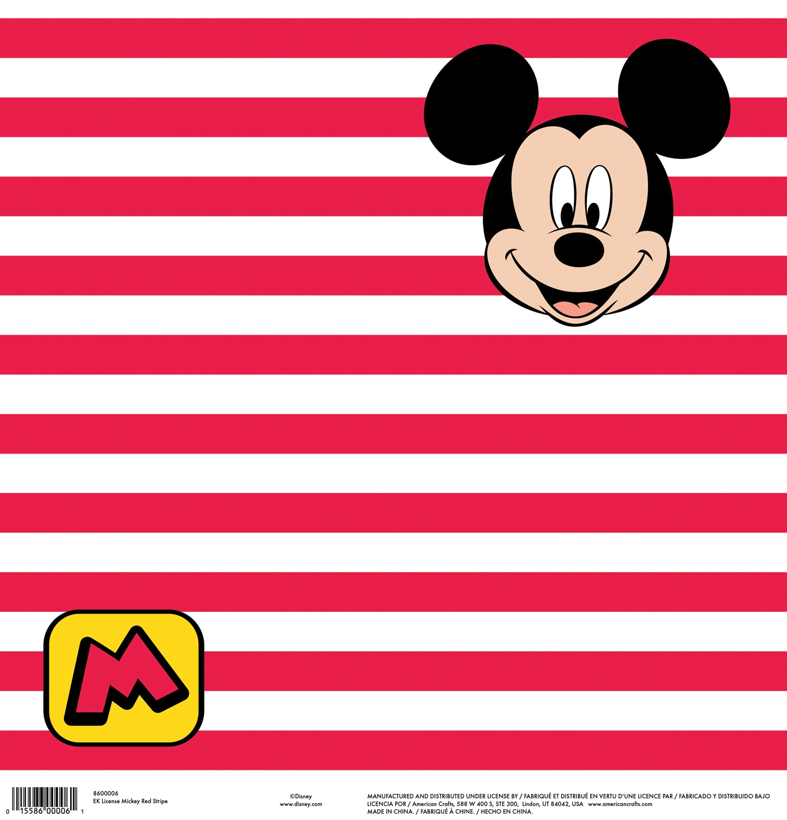 EK Disney Single-Sided Cardstock 12X12-Mickey Red Stripe