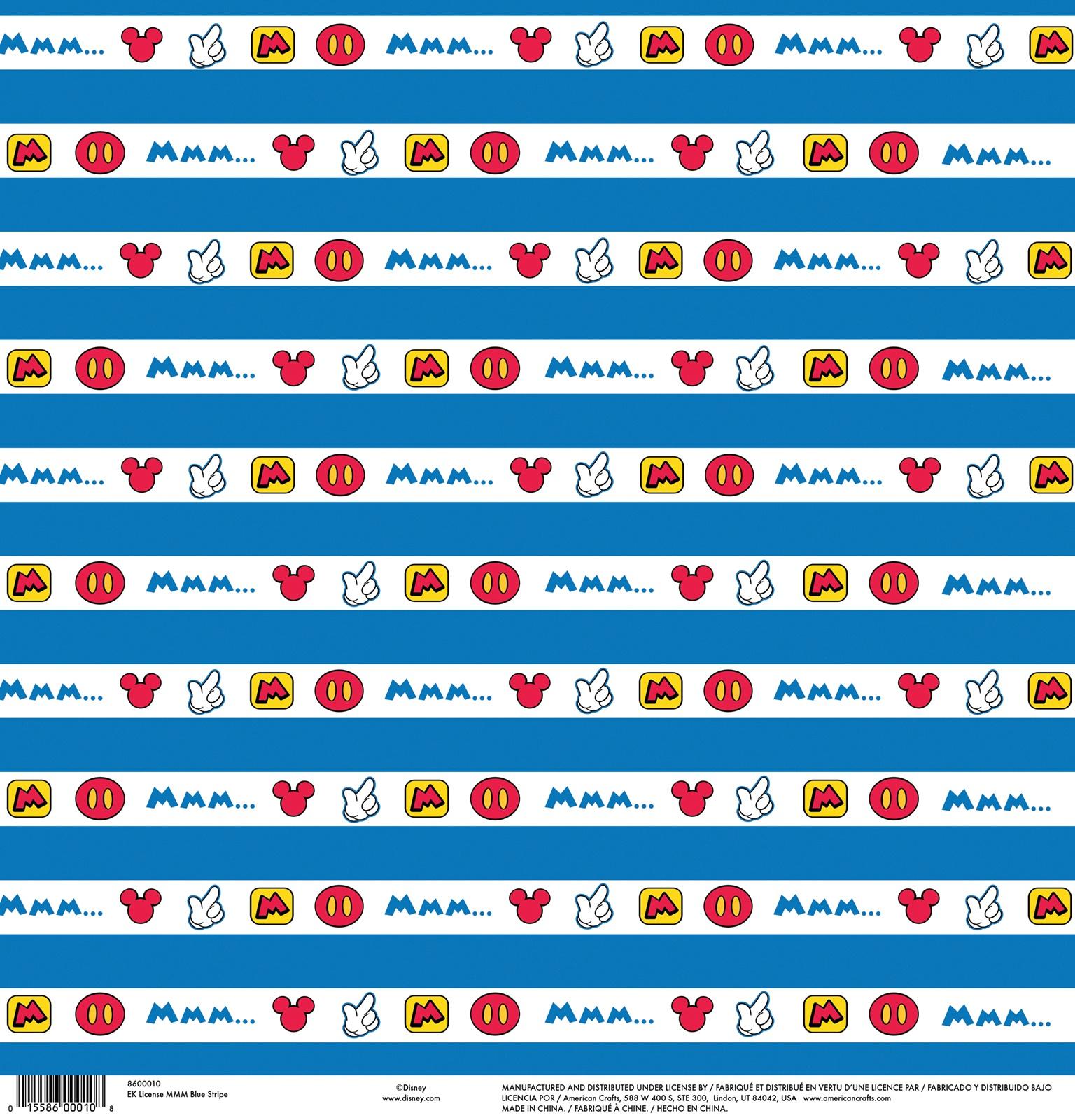EK Disney Single-Sided Cardstock 12X12-Mickey Mouse Blue Stripe