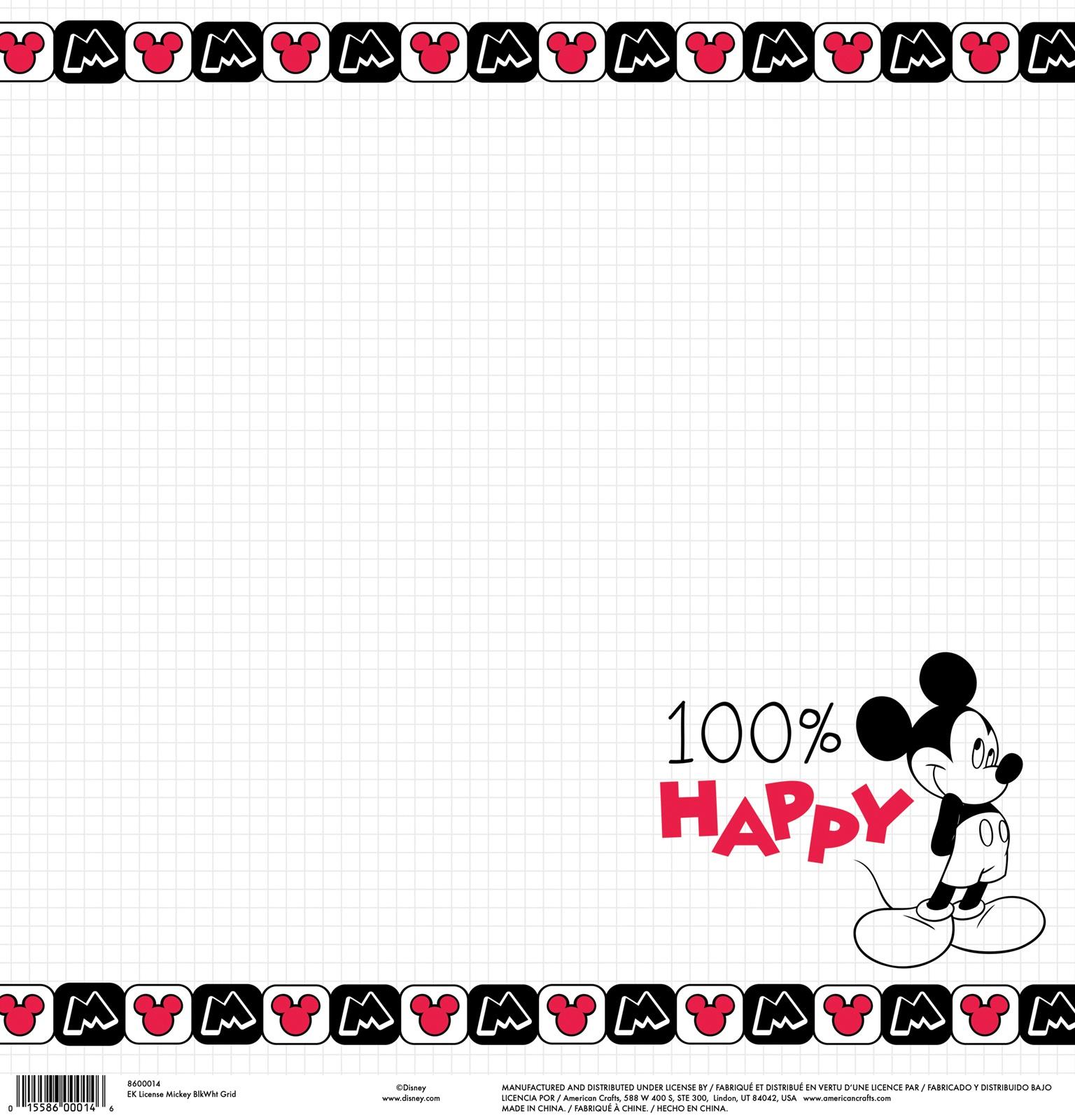 EK Disney Single-Sided Cardstock 12X12-Mickey Black & White Grid