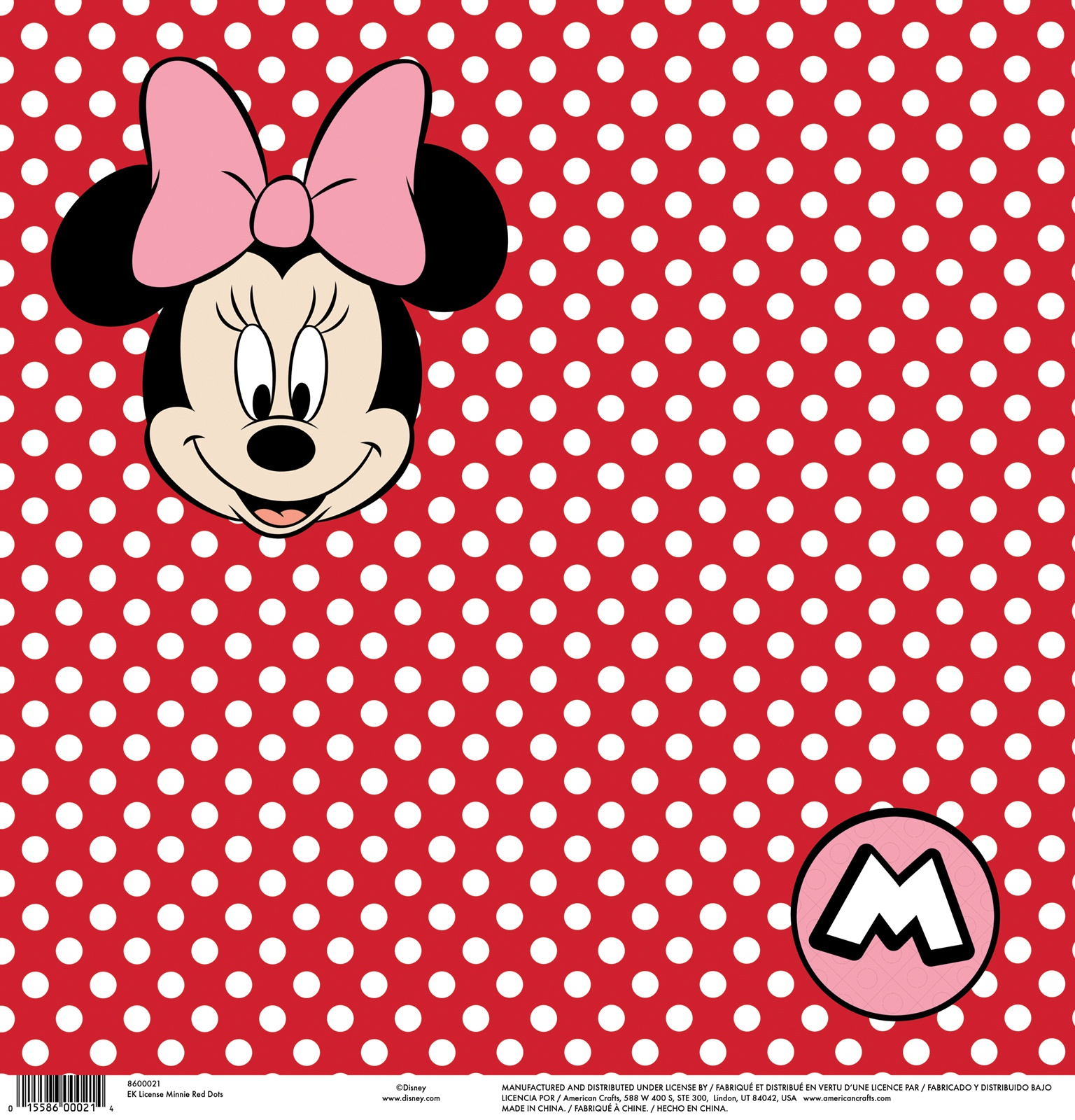 EK Disney Single-Sided Cardstock 12X12-Minnie Red Dots