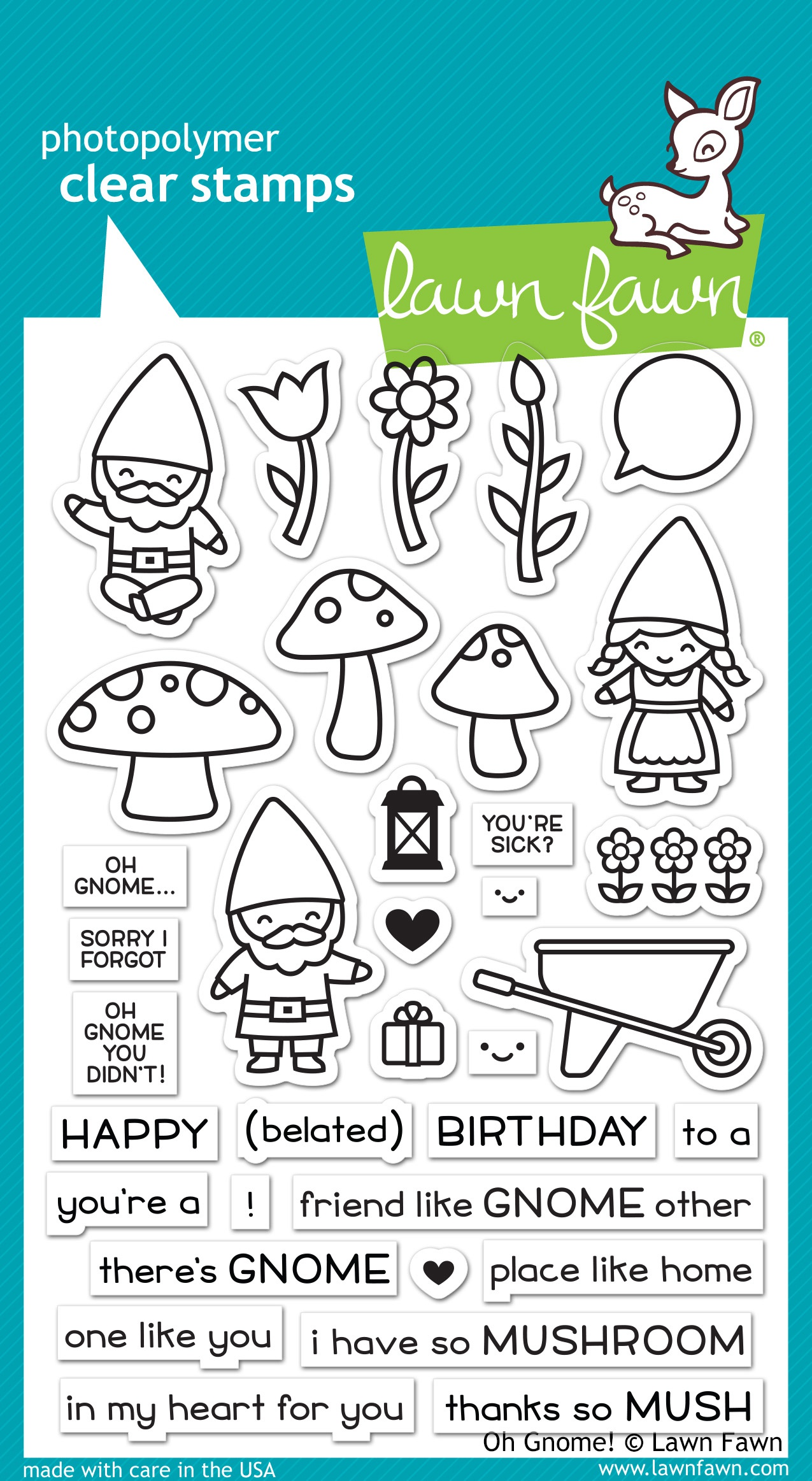 Lawn Fawn Clear Stamps 4X6-Oh Gnome!