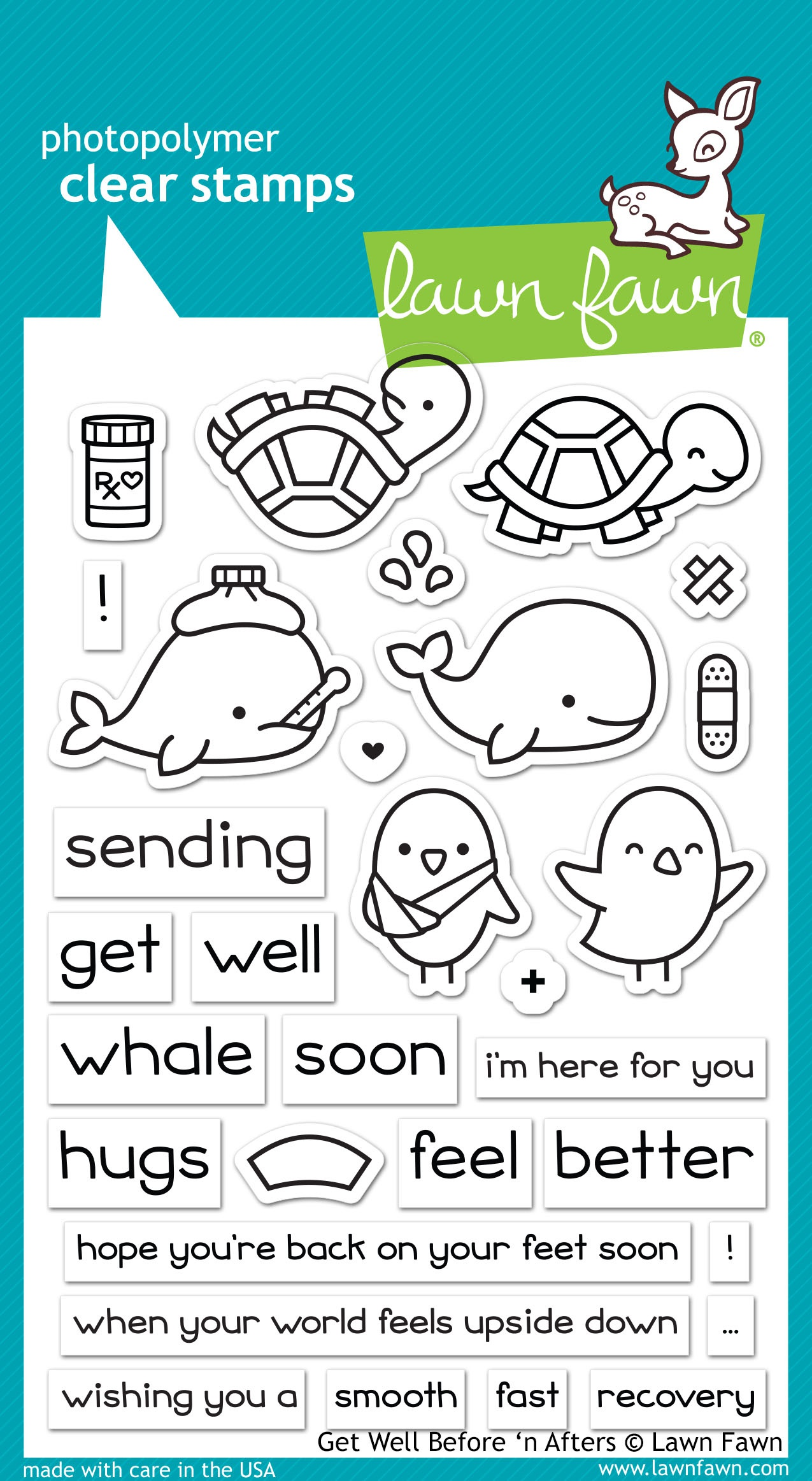 Lawn Fawn Clear Stamps 4X6-Get Well Before 'n Afters
