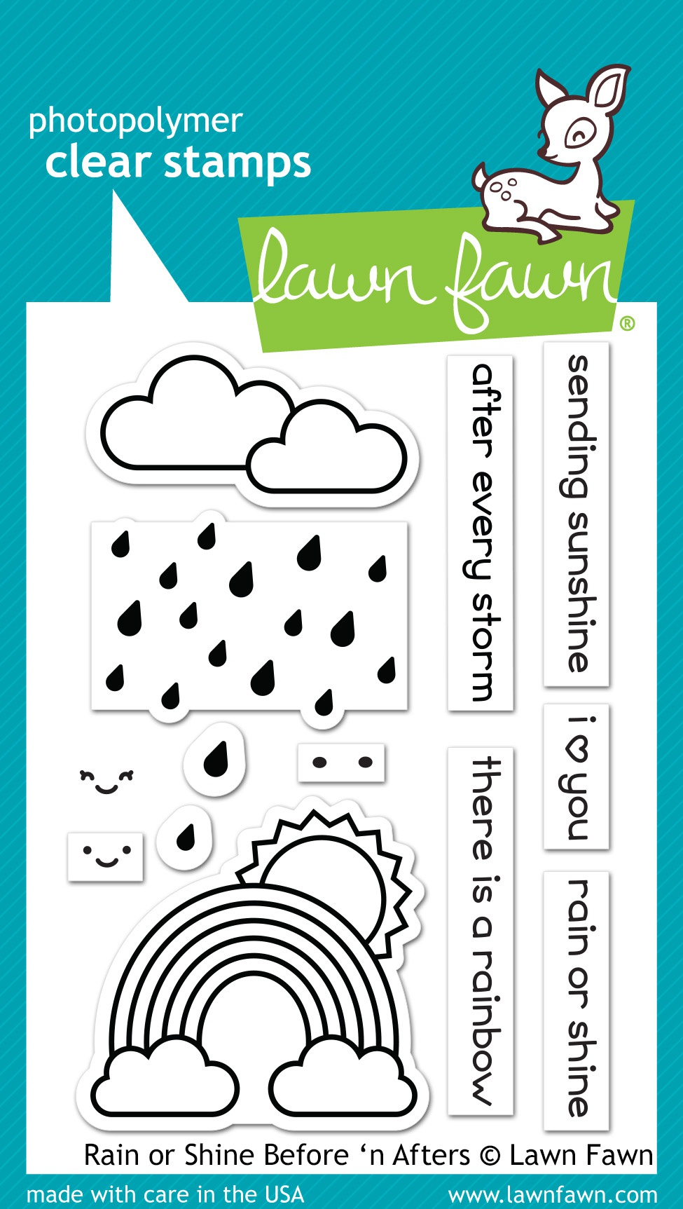 Lawn Fawn Clear Stamps 3x4-rain Or Shine Before n Afters