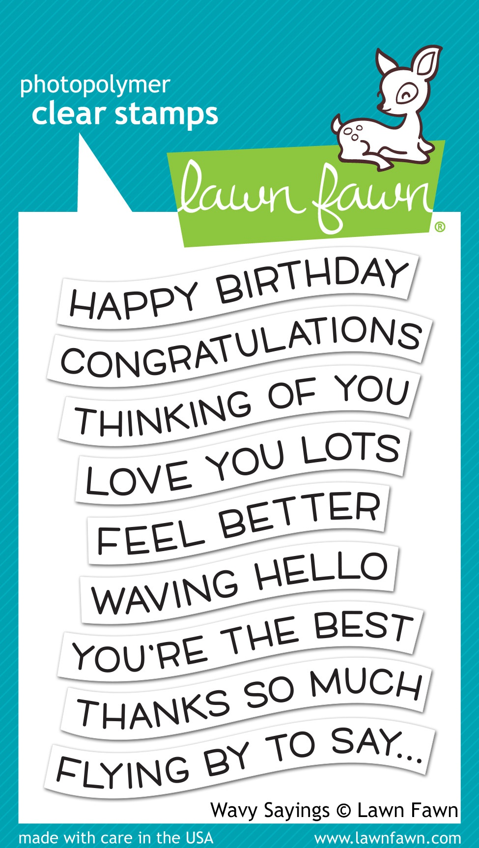Lawn Fawn Clear Stamps 3X4-Wavy Sayings