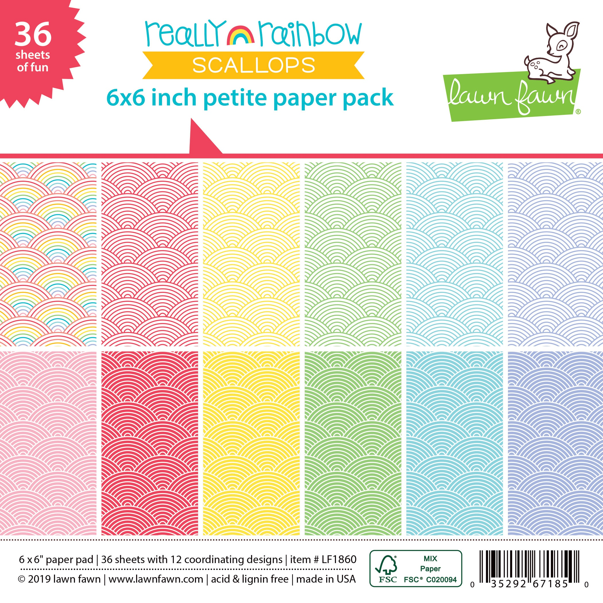 Lawn Fawn - Really Rainbow Scallops - 6x6 Petit Paper Pad