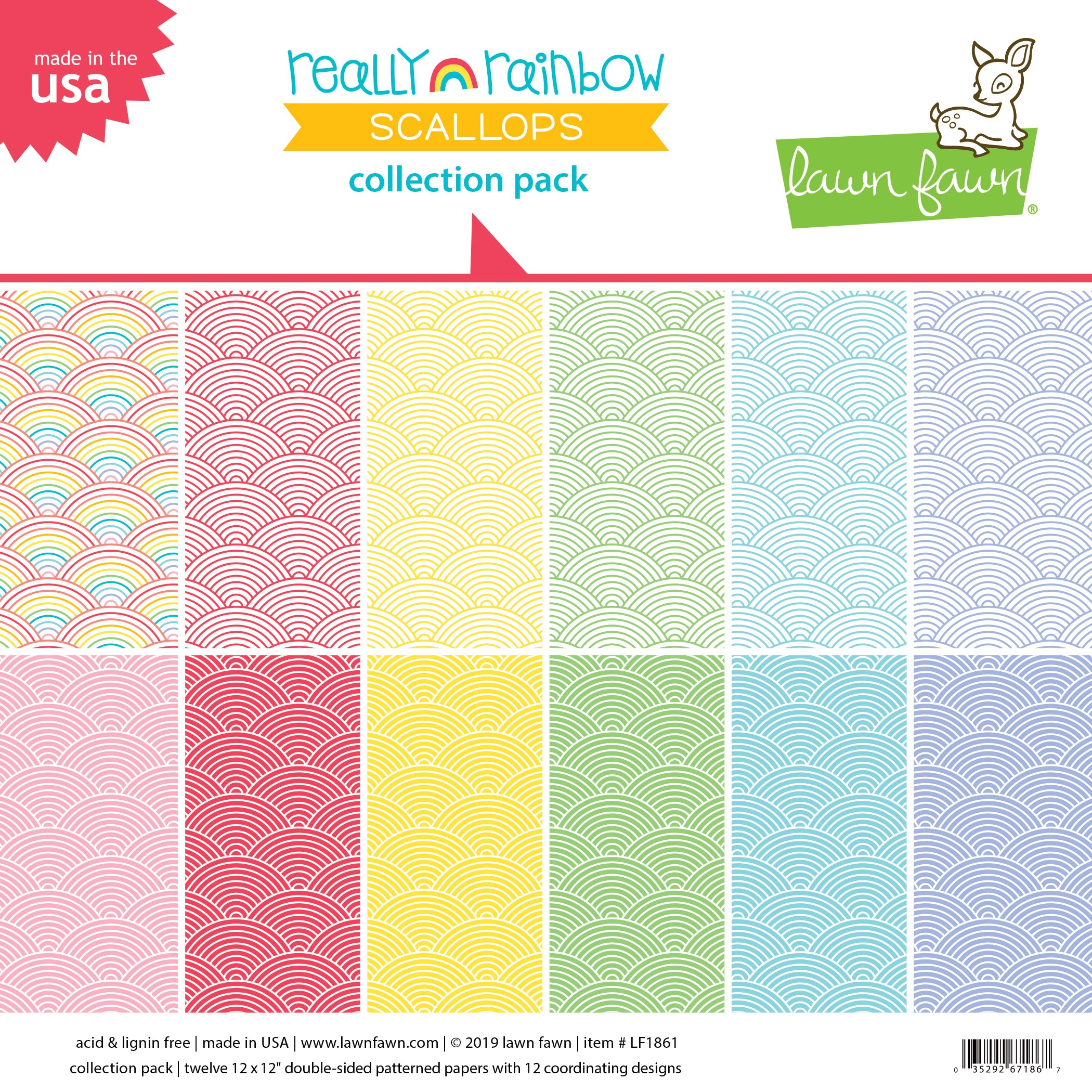 Lawn Fawn Double-Sided Collection Pack 12X12 12/Pkg-Really Rainbow Scallops 6 ...