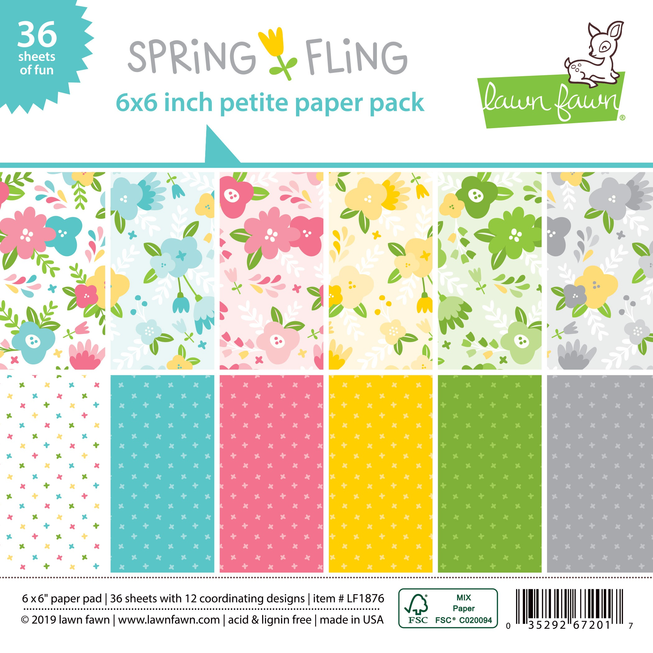 Lawn Fawn Single-Sided Petite Paper Pack 6X6 36/Pkg-Spring Fling, 12 Designs/3...