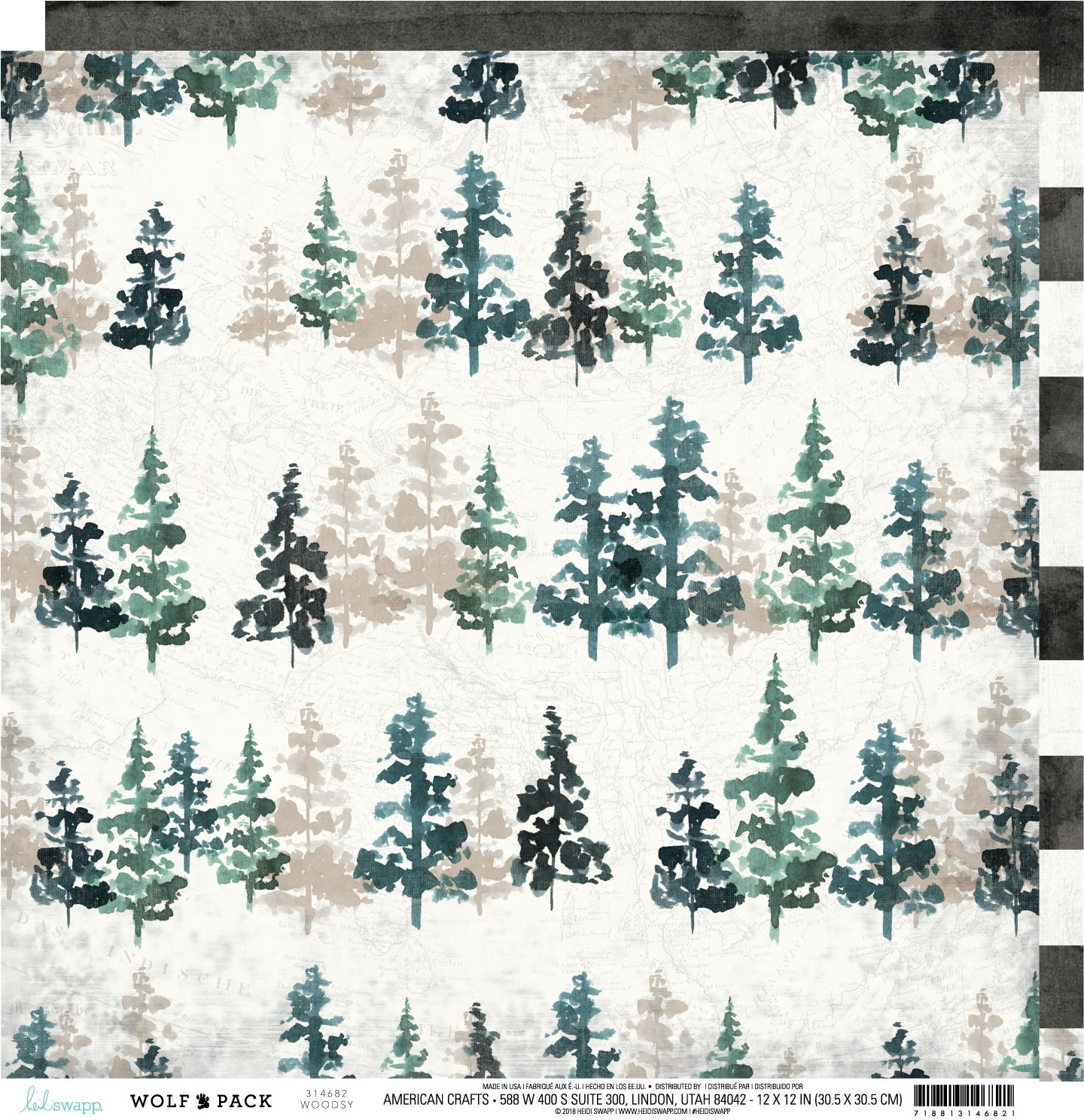 Heidi Swapp Wolf Pack 12x12 Double-Sided Paper - Woodsy