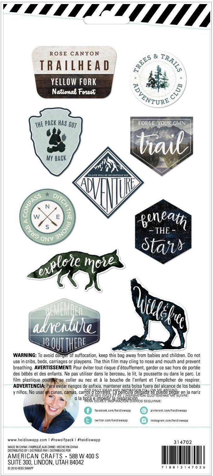 Heidi Swapp Wolf Pack Embossed Stickers 10/Pkg-