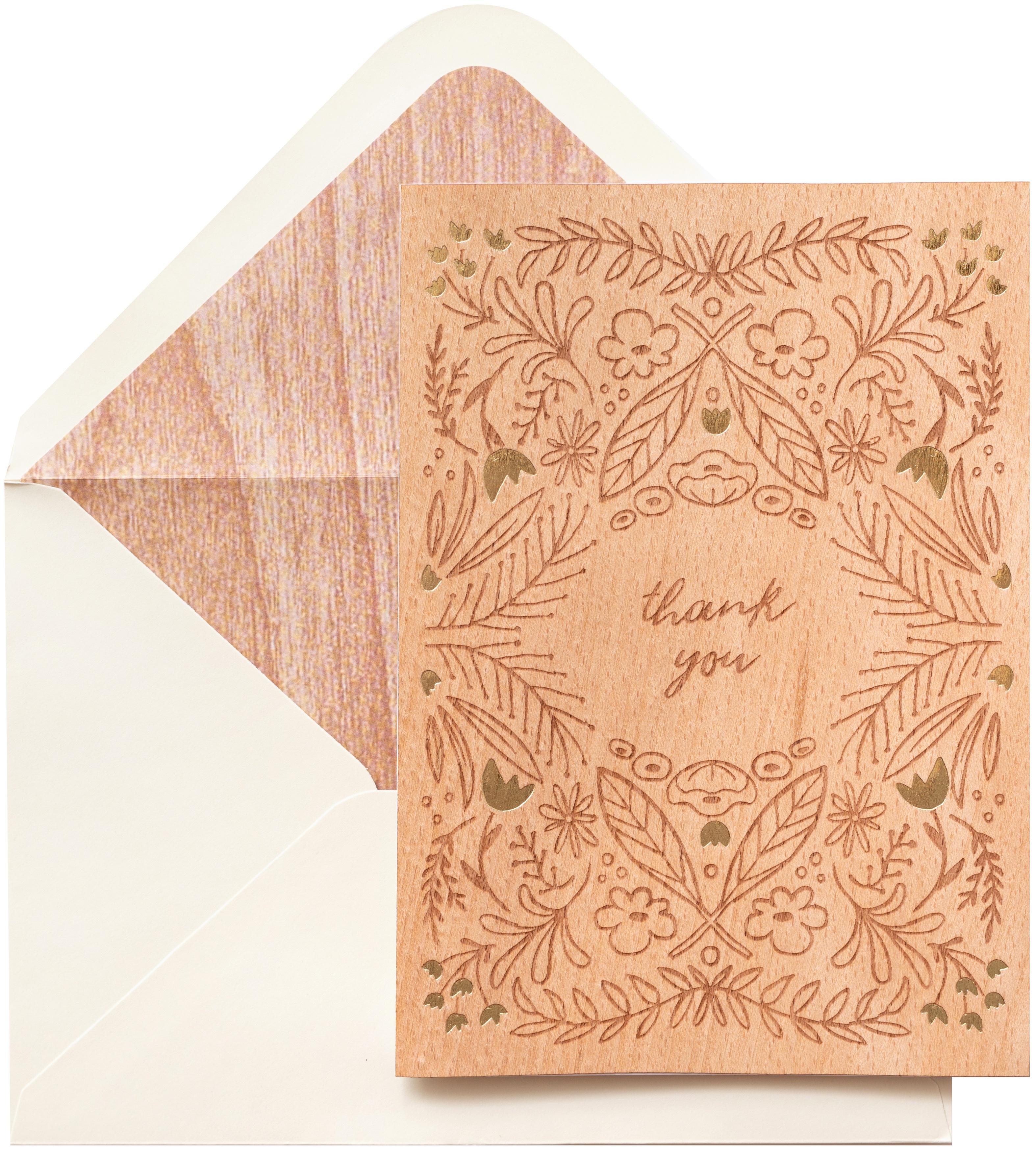 AC Gift Premium Greeting Card W/Envelope-Thank You Wood Veneer