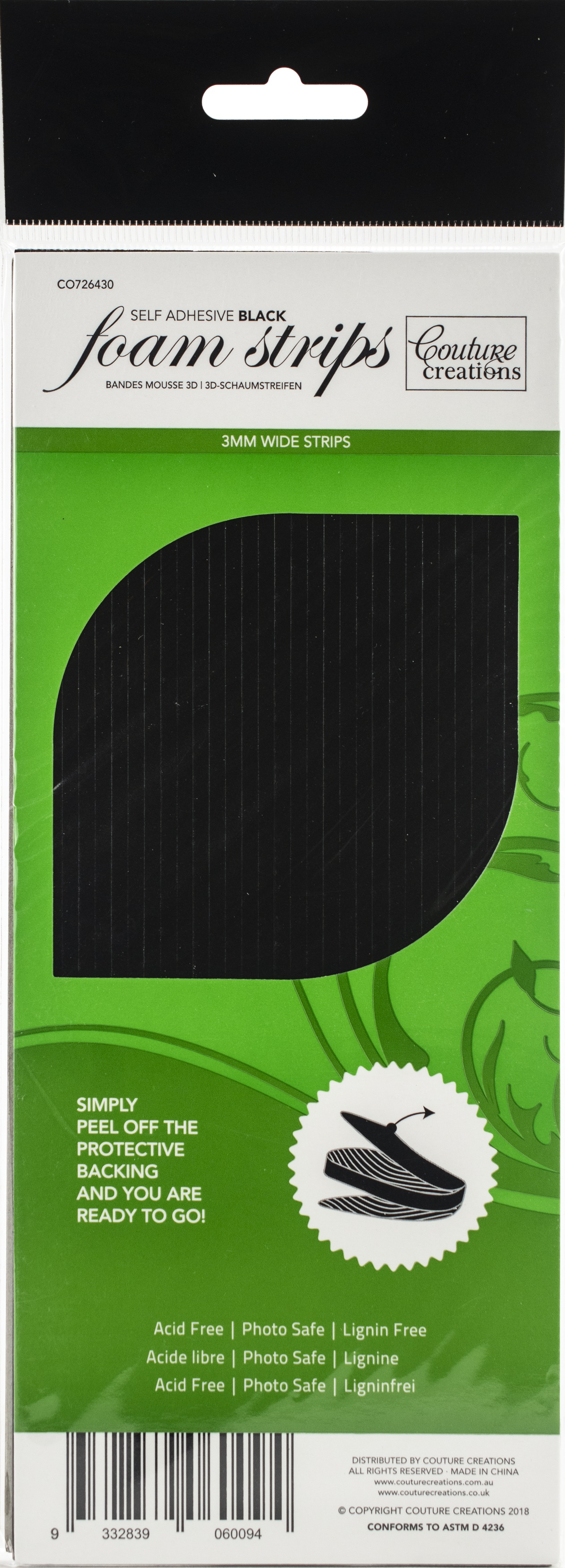 Couture Creations 3D Adhesive Foam Strips-Black