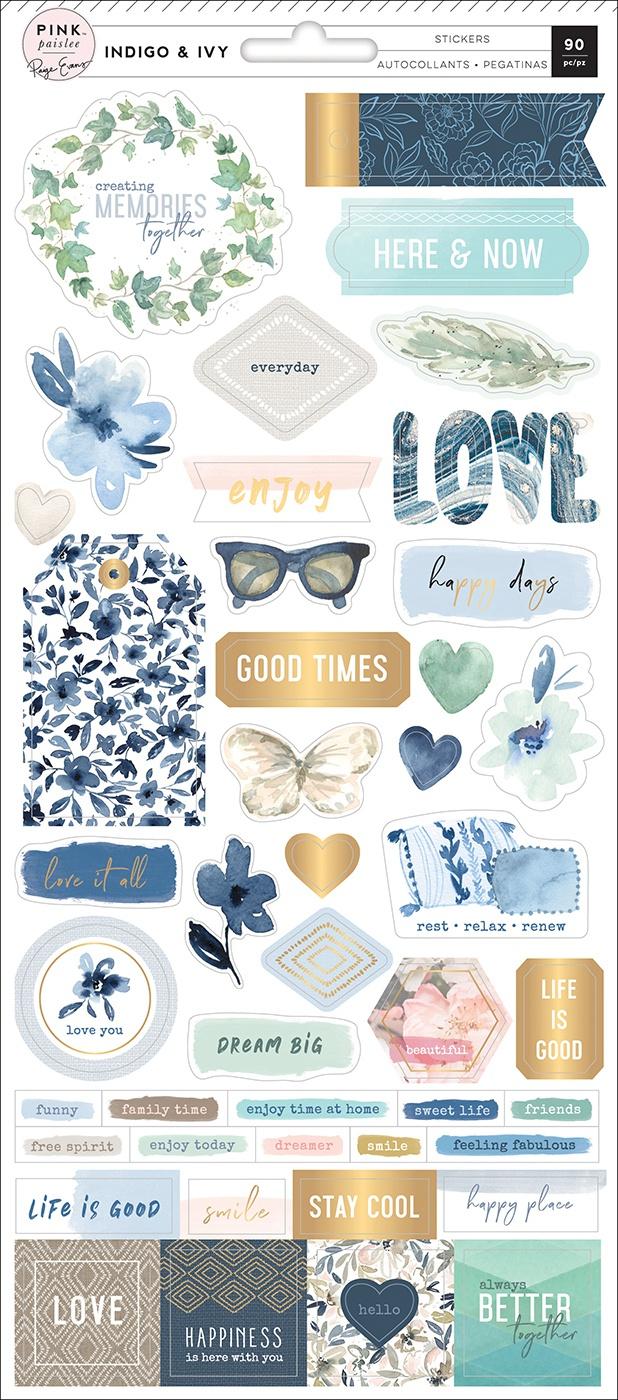 Pink Paislee - Indigo & Ivy Cardstock Stickers, 5.5x12