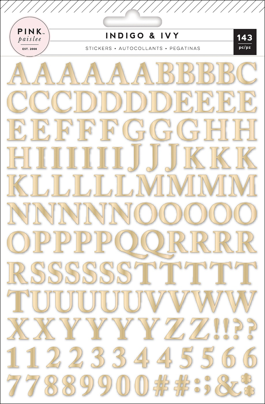 Indigo & Ivy Puffy Stickers-Alphabet W/Gold Foil