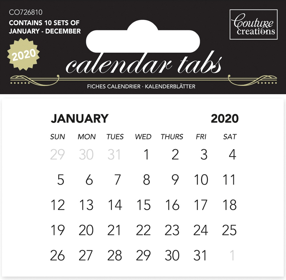 Couture Creations Calendar Tabs 2020 10/Pkg-