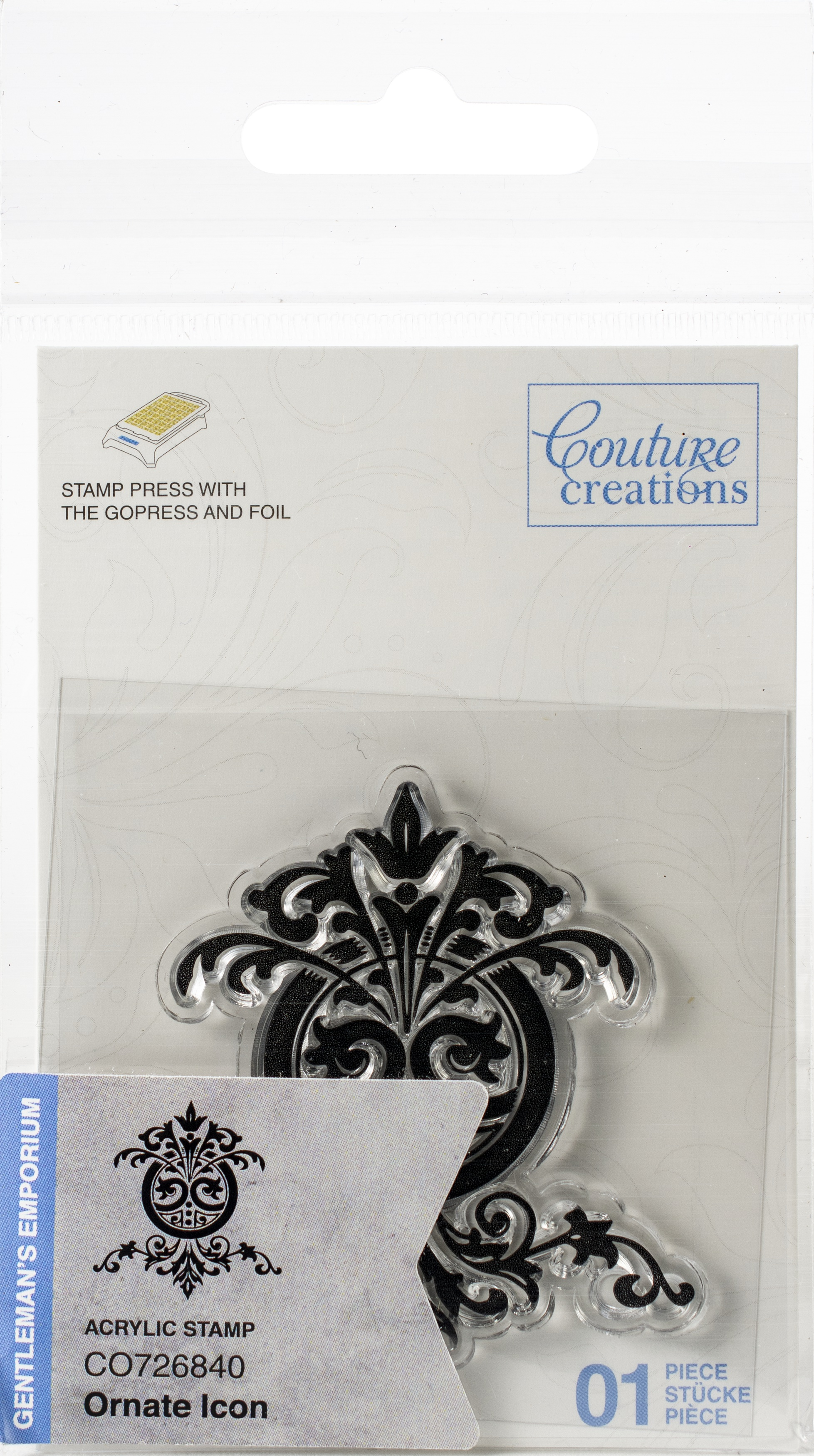 Couture Creations Gentlemans Emporium Mini Stamp-Ornate Icon 1.9X1.9