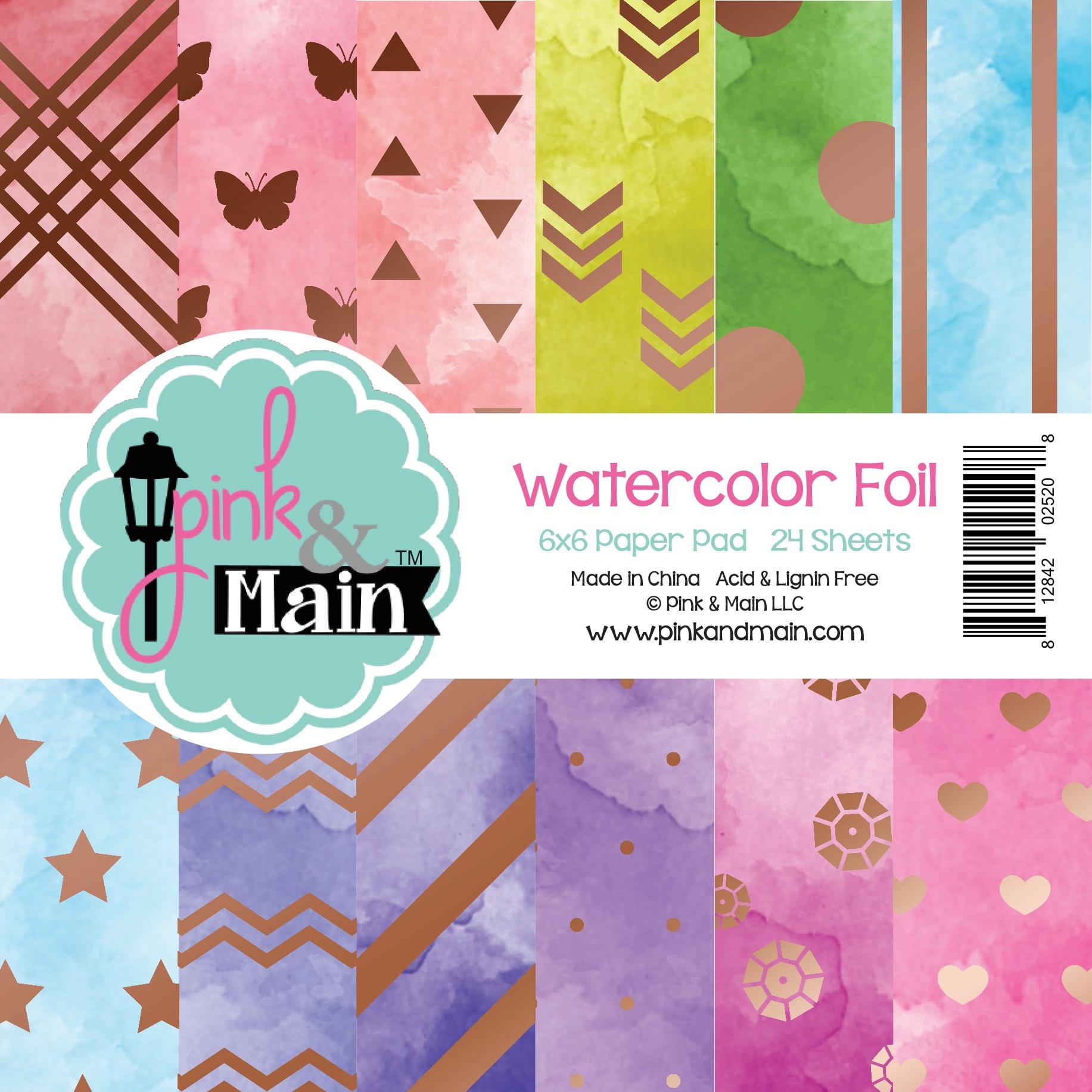 Pink & Main Double-Sided Paper Pad 6X6 24/Pkg-Watercolor Foil, 12 Designs/2 Ea...