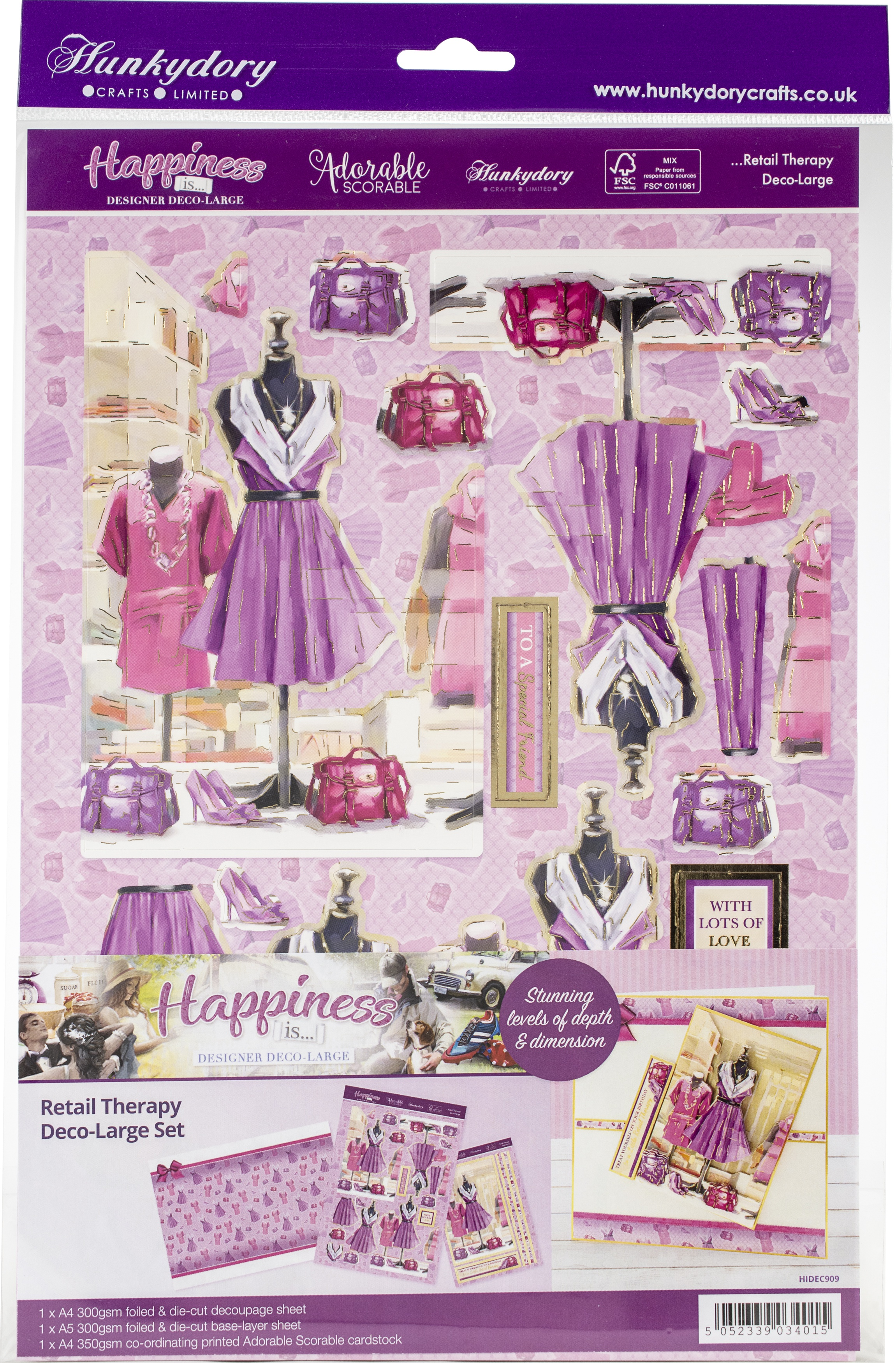 Hunkydory Happiness Is... A4 Decoupage Large Set-Retail Therapy
