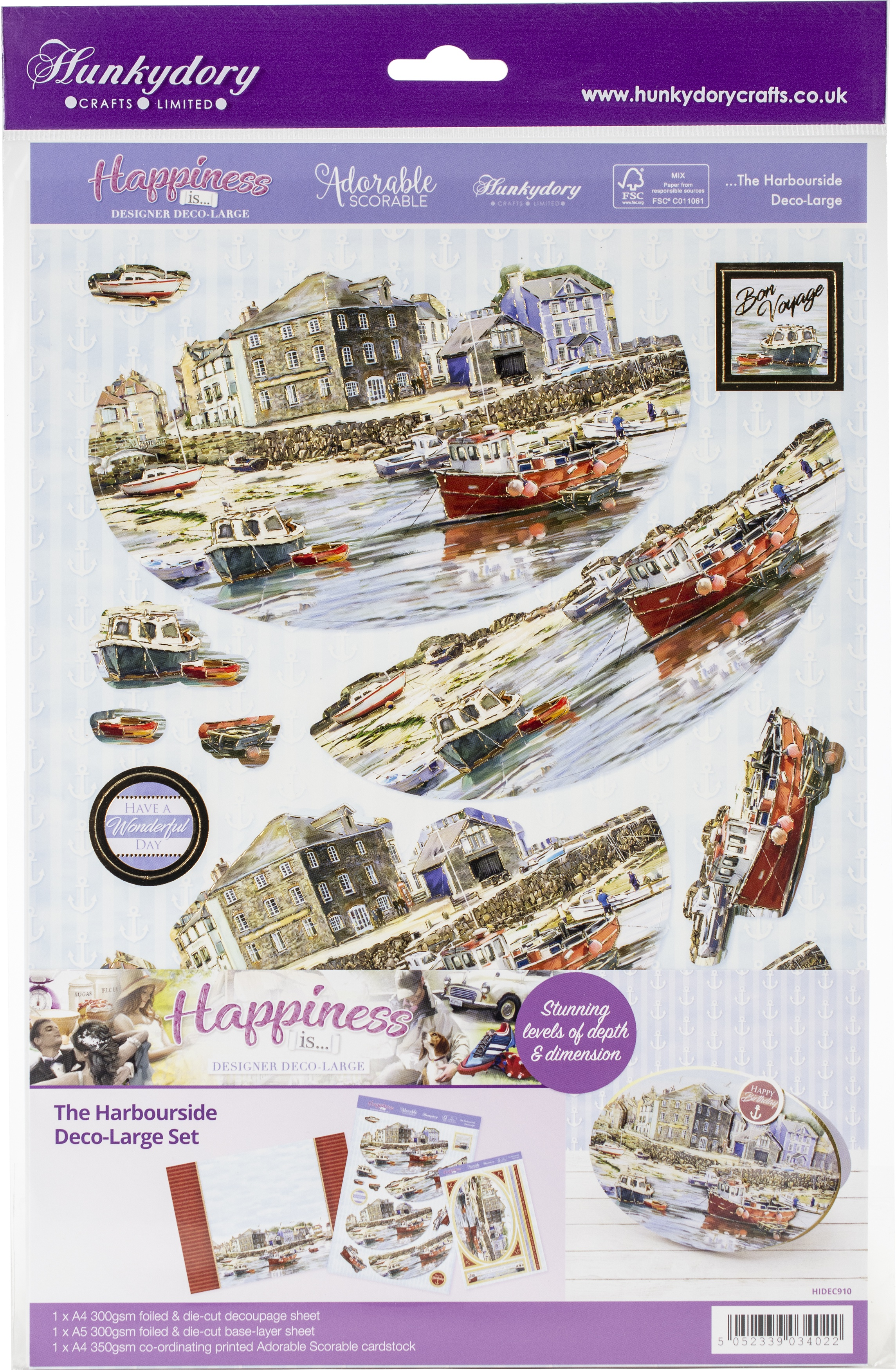 Hunkydory Happiness Is... A4 Decoupage Large Set-The Harbourside