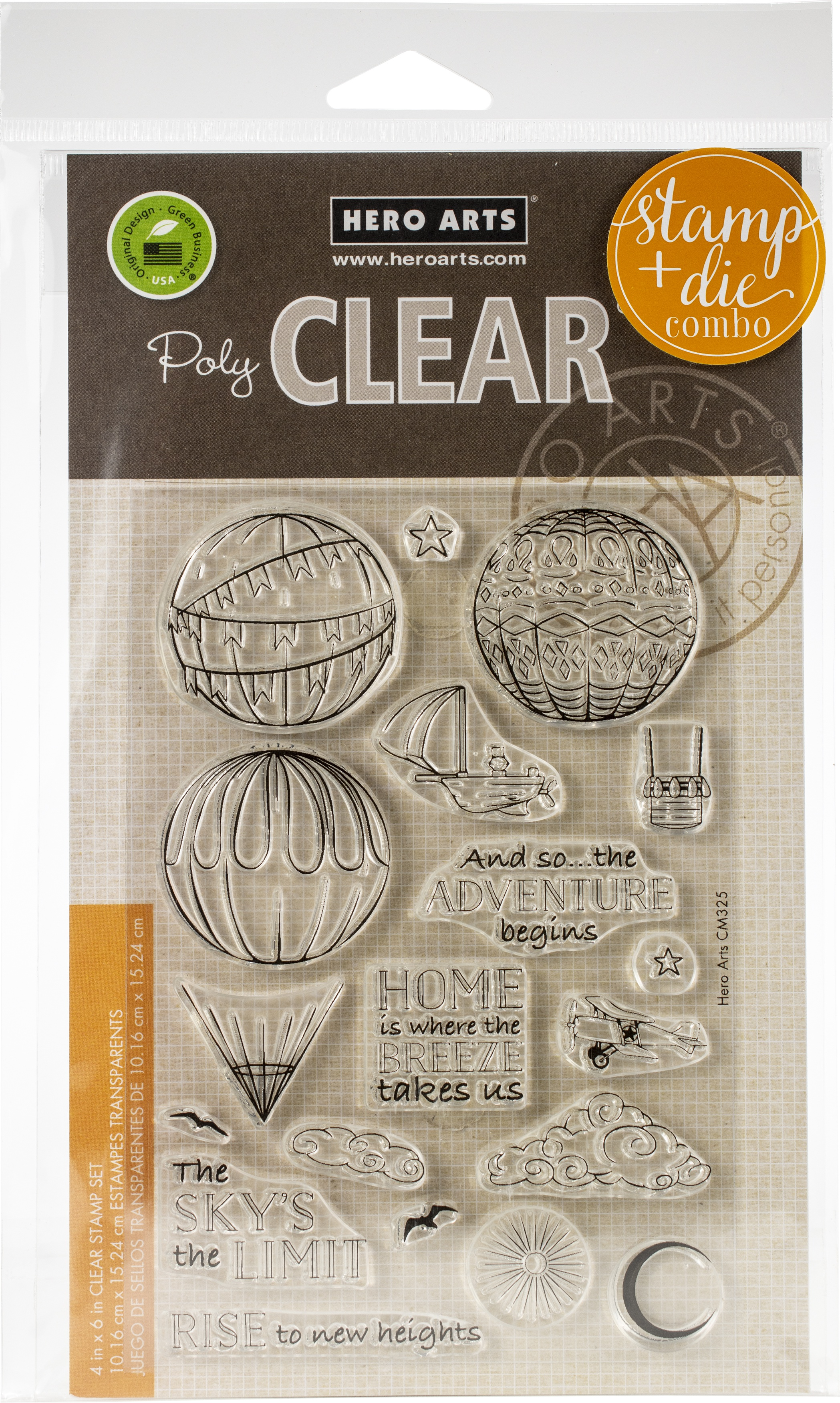 Hero Arts Clear Stamp & Die Combo-Sky's The Limit Balloons