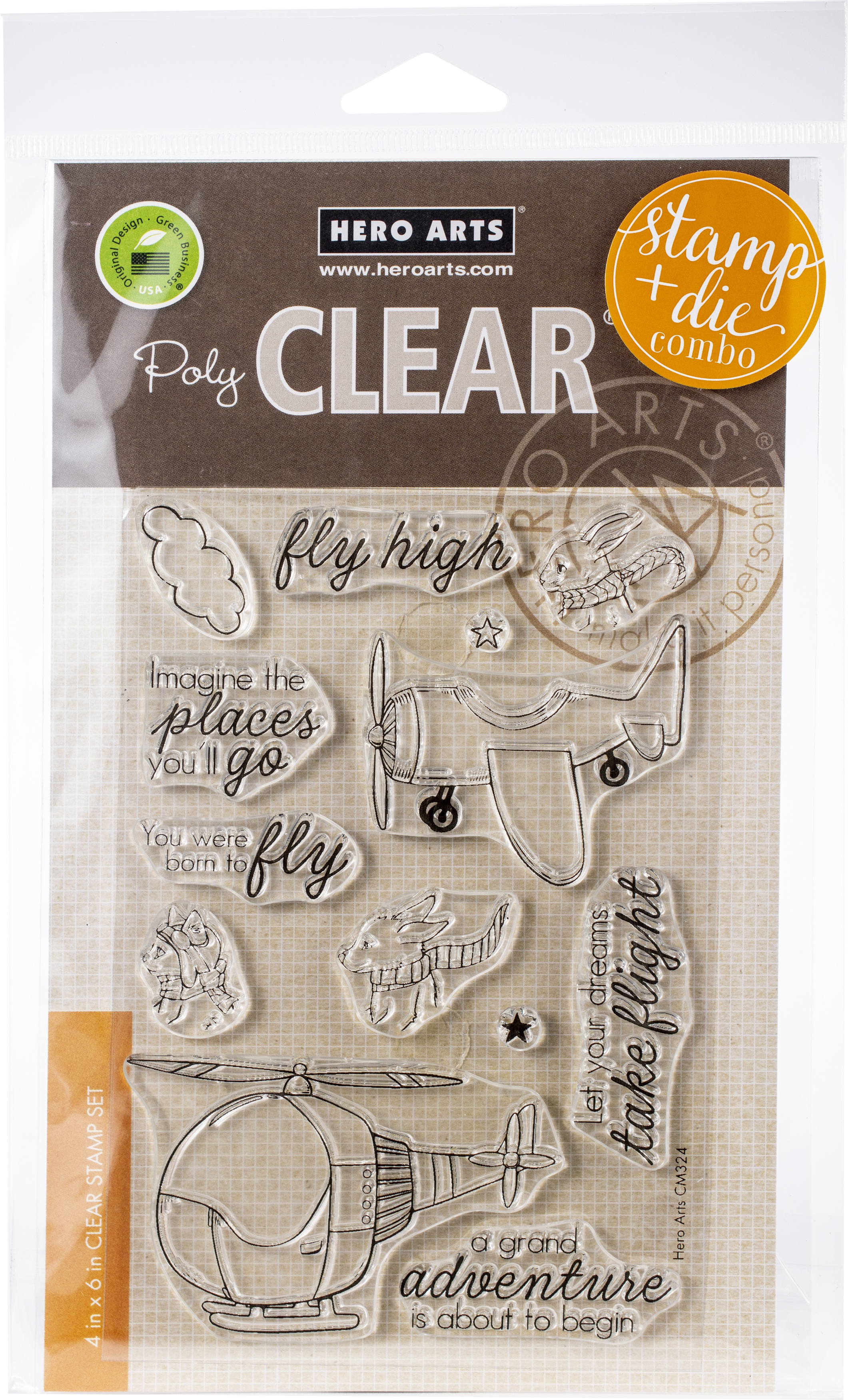 Hero Arts Clear Stamp & Die Combo-Fly High Animals