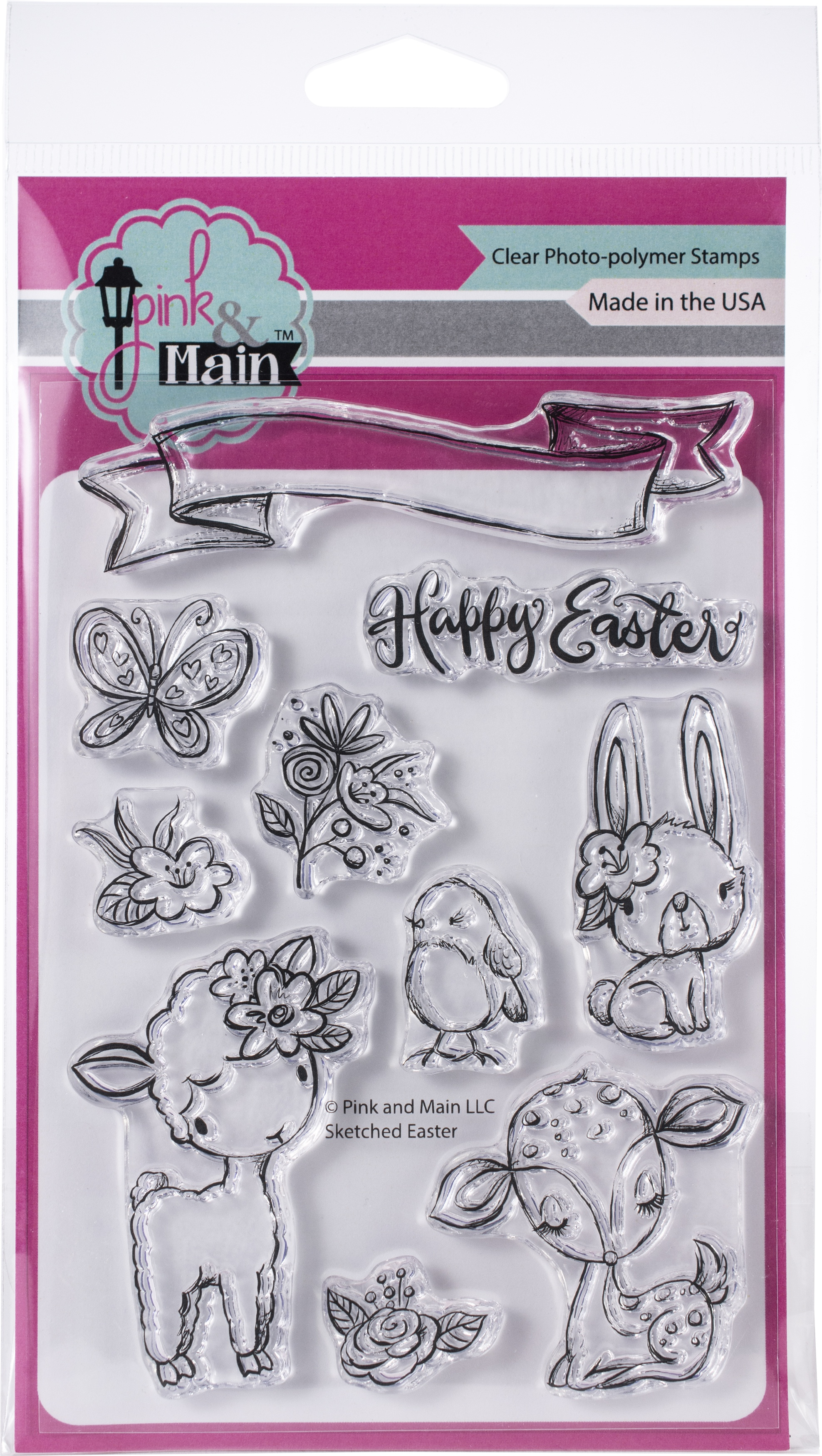 Pink & Main Clear Stamps 4X6-Sketched Easter