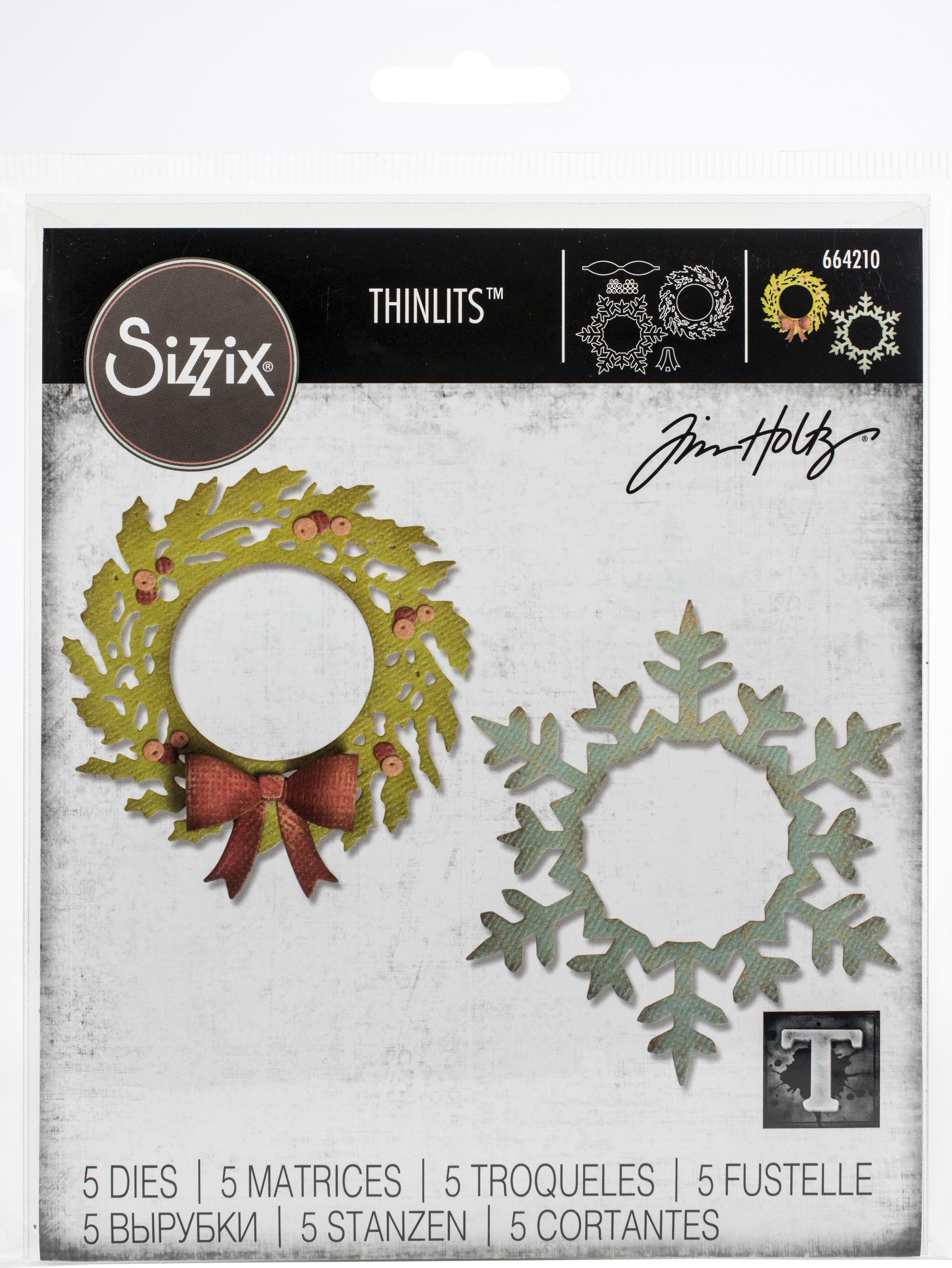 Sizzix Thinlits Dies By Tim Holtz-Wreath & Snowflake