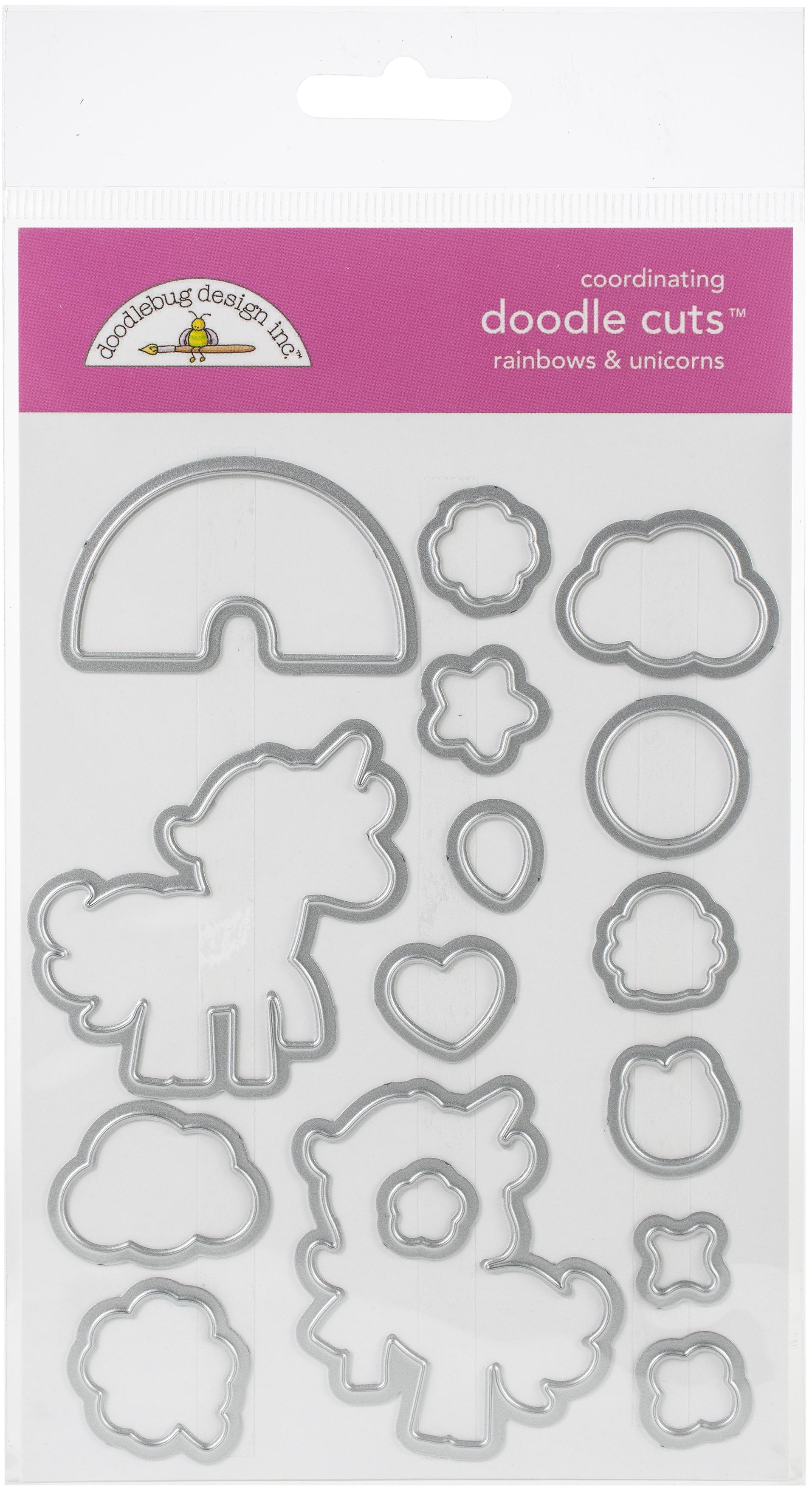 Doodlebug Doodle Cuts Dies-Rainbows & Unicorns