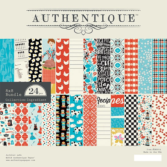 Authentique Double-Sided Cardstock Pad 8X8 24/Pkg-Ingredient, 12 Designs/2 Eac...