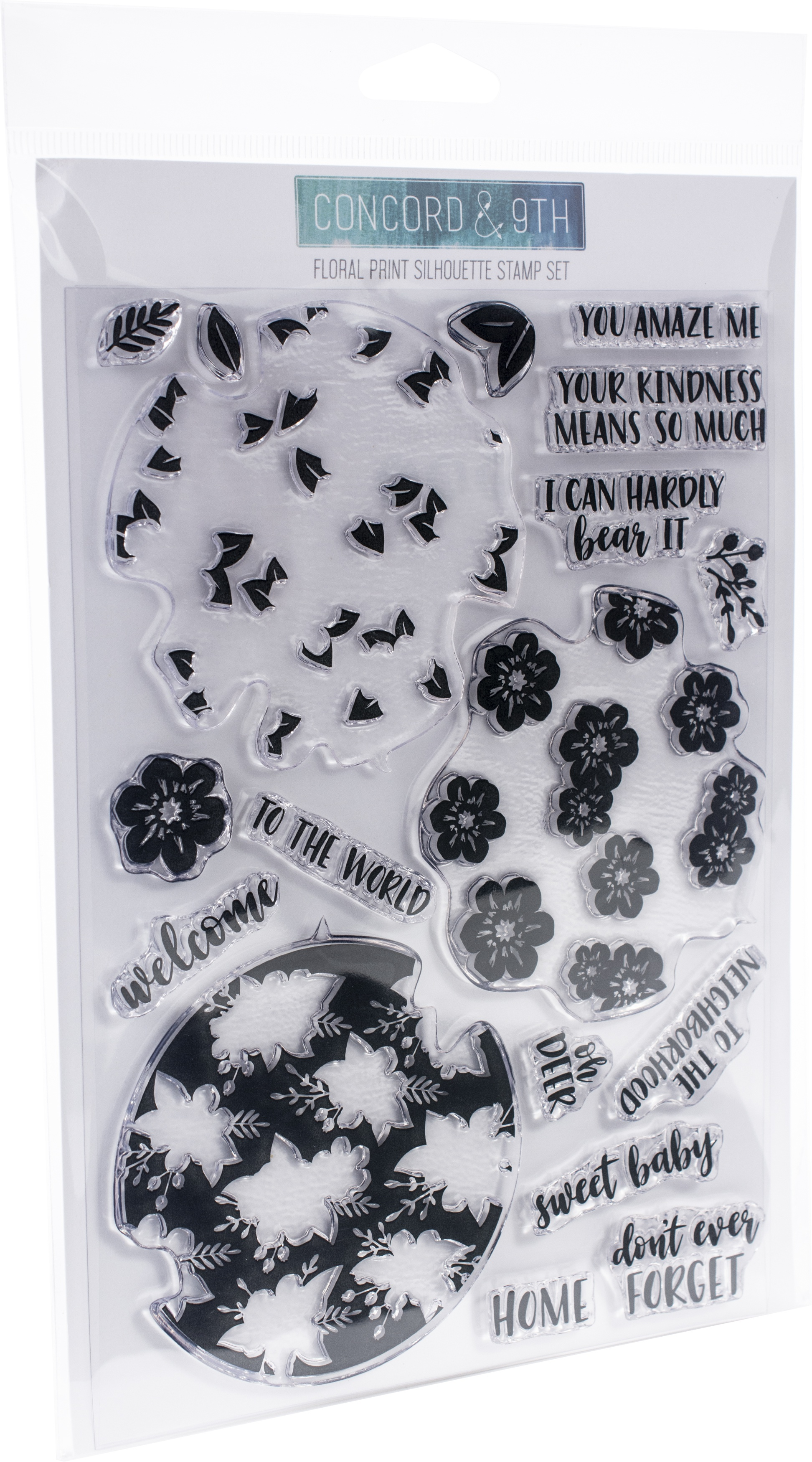Concord & 9th Clear Stamps 6X8-Floral Print Silhouette