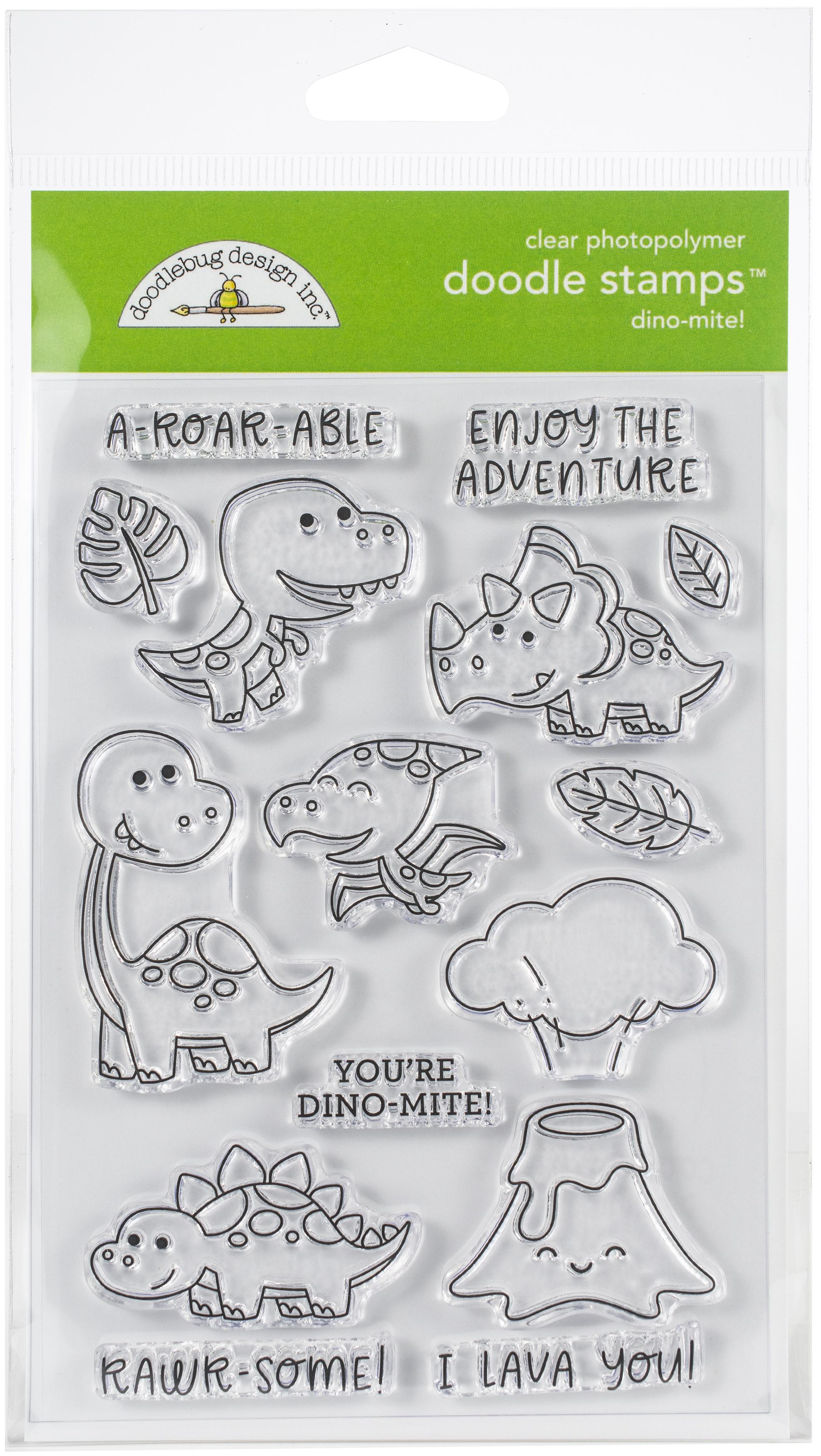 Doodlebug Clear Doodle Stamps-Dino-Mite!