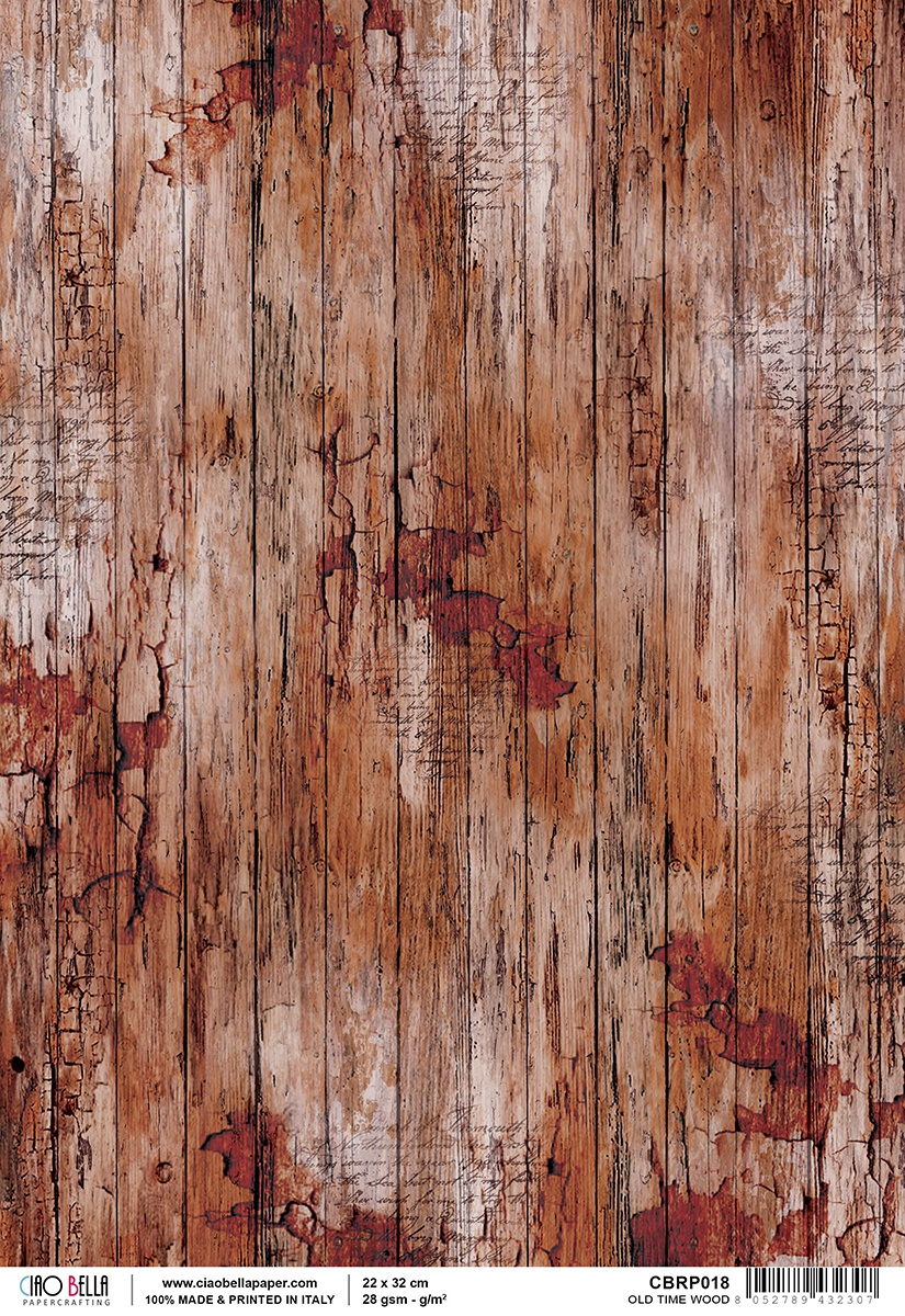 Ciao Bella Rice Paper Sheet A4 Old Time Wood, Woodland
