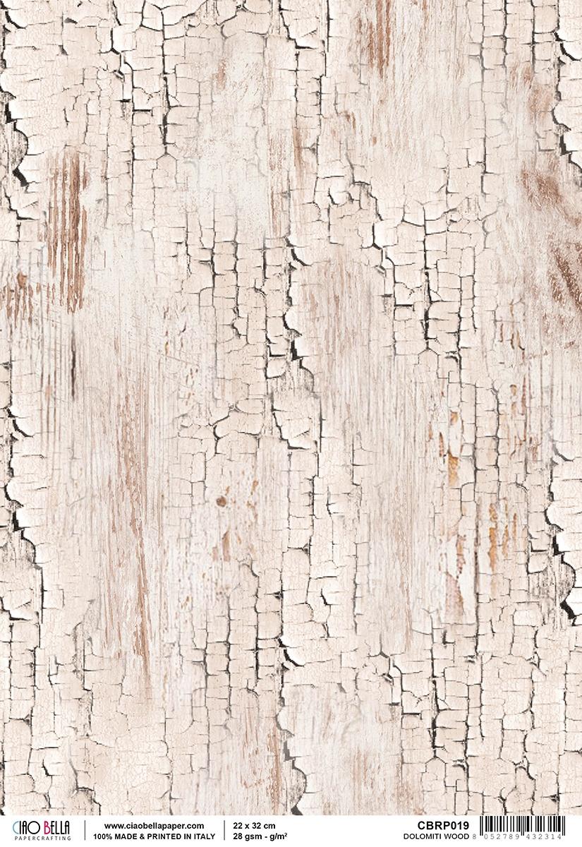 Ciao Bella Rice Paper Sheet A4 Dolomiti Wood, Woodland