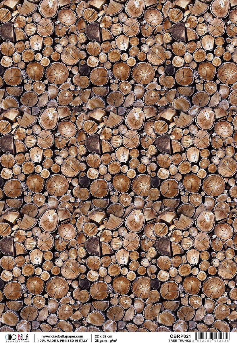 Rice Paper Sheet A4 Woodland Tree Trunks