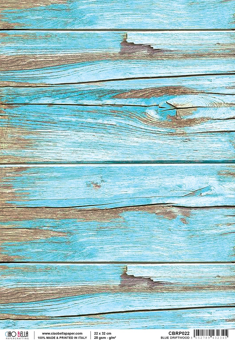 Ciao Bella Rice Paper Sheet A4 Blue Driftwood, Woodland