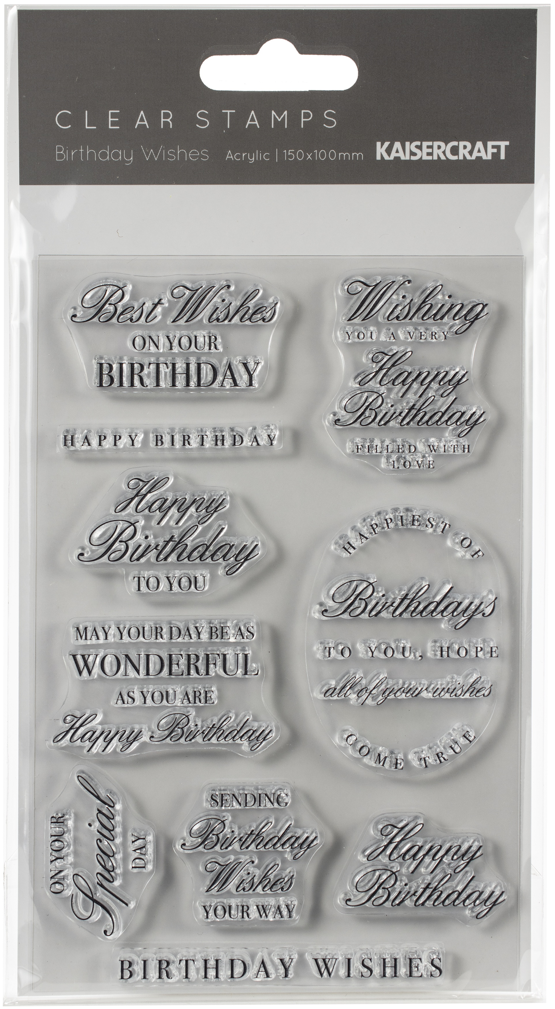 Kaisercraft Clear Stamp 6X4-Birthday Wishes