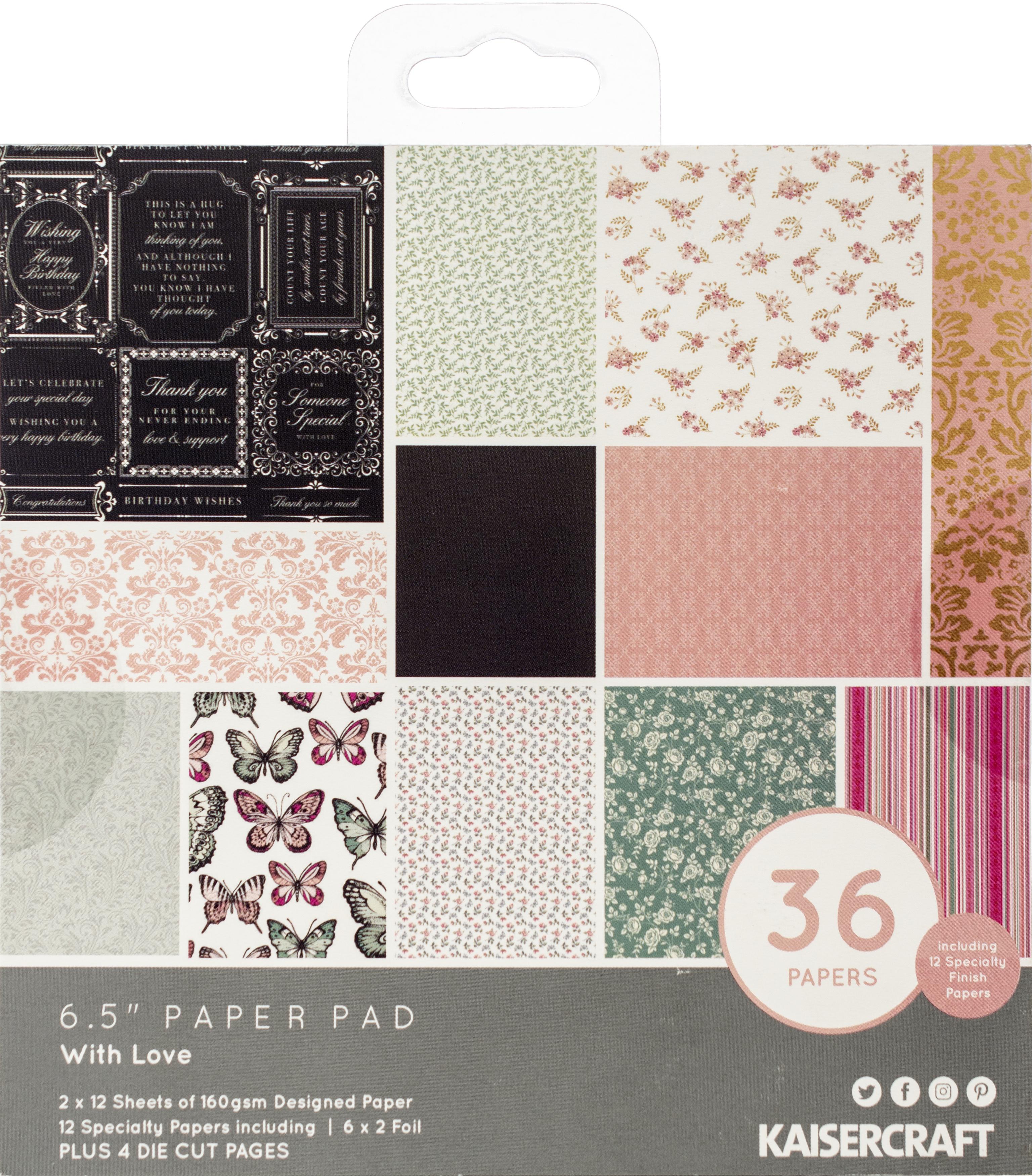 Kaisercraft Paper Pad 6.5X6.5 40/Pkg-With Love