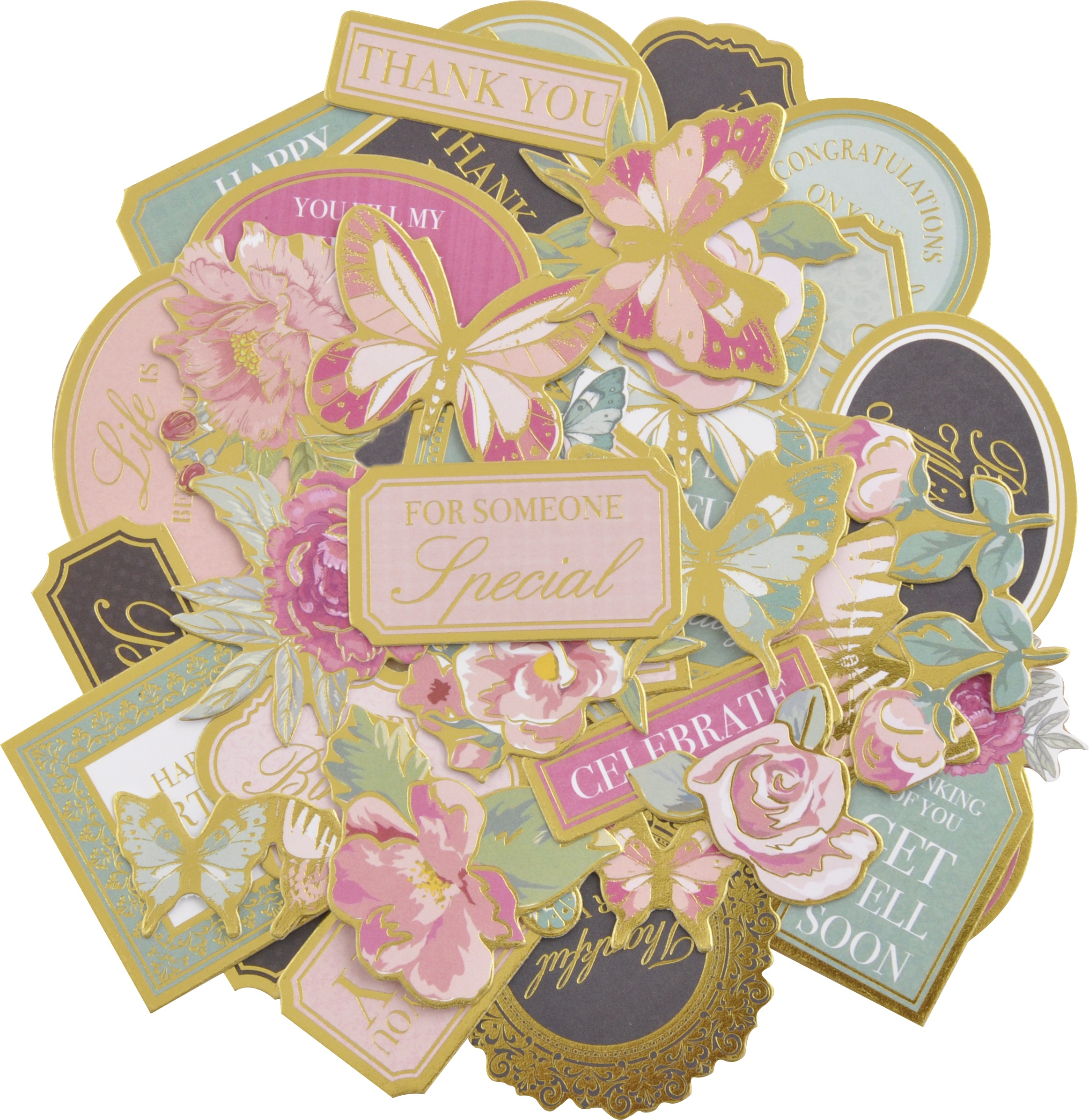 Kaisercraft Collectables Cardstock Die-Cuts-With Love, Coloured