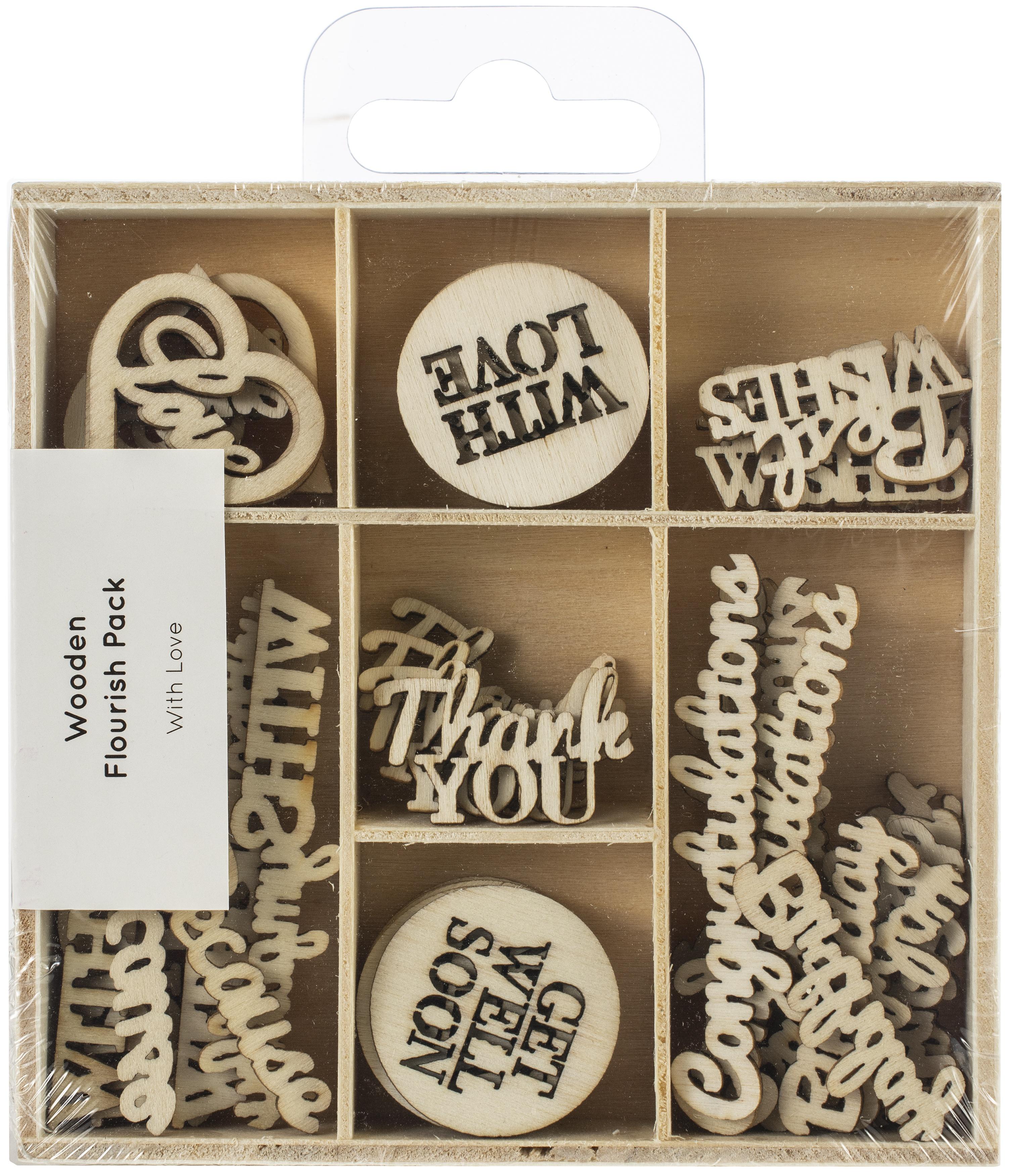 Kaisercraft Wood Mini Themed Embellishments-With Love, 45/Pkg
