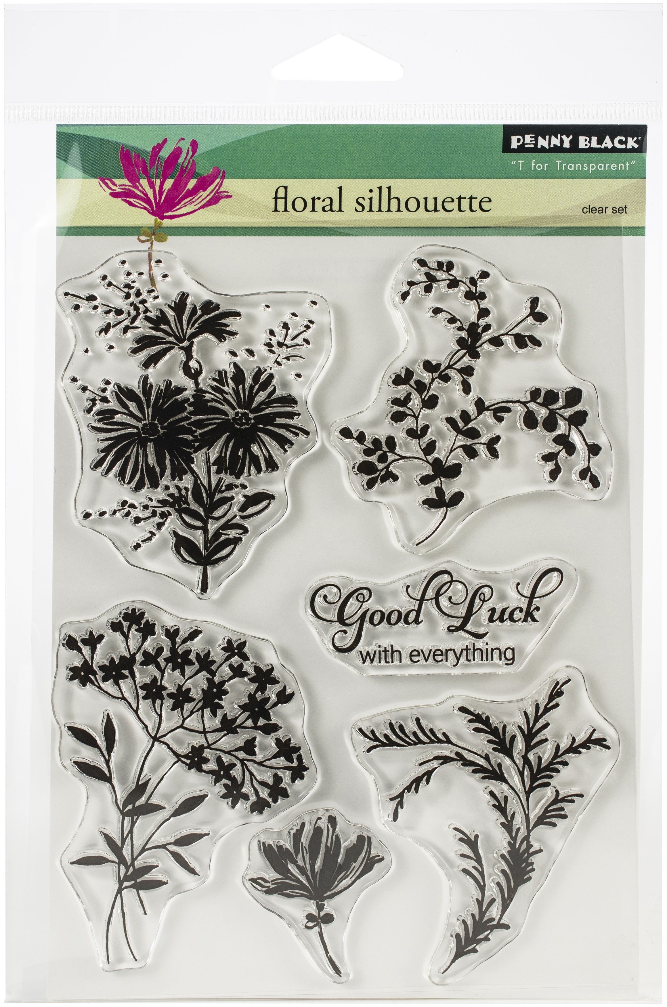 Penny Black Clear Stamps-Floral Silhouette 5X6.5