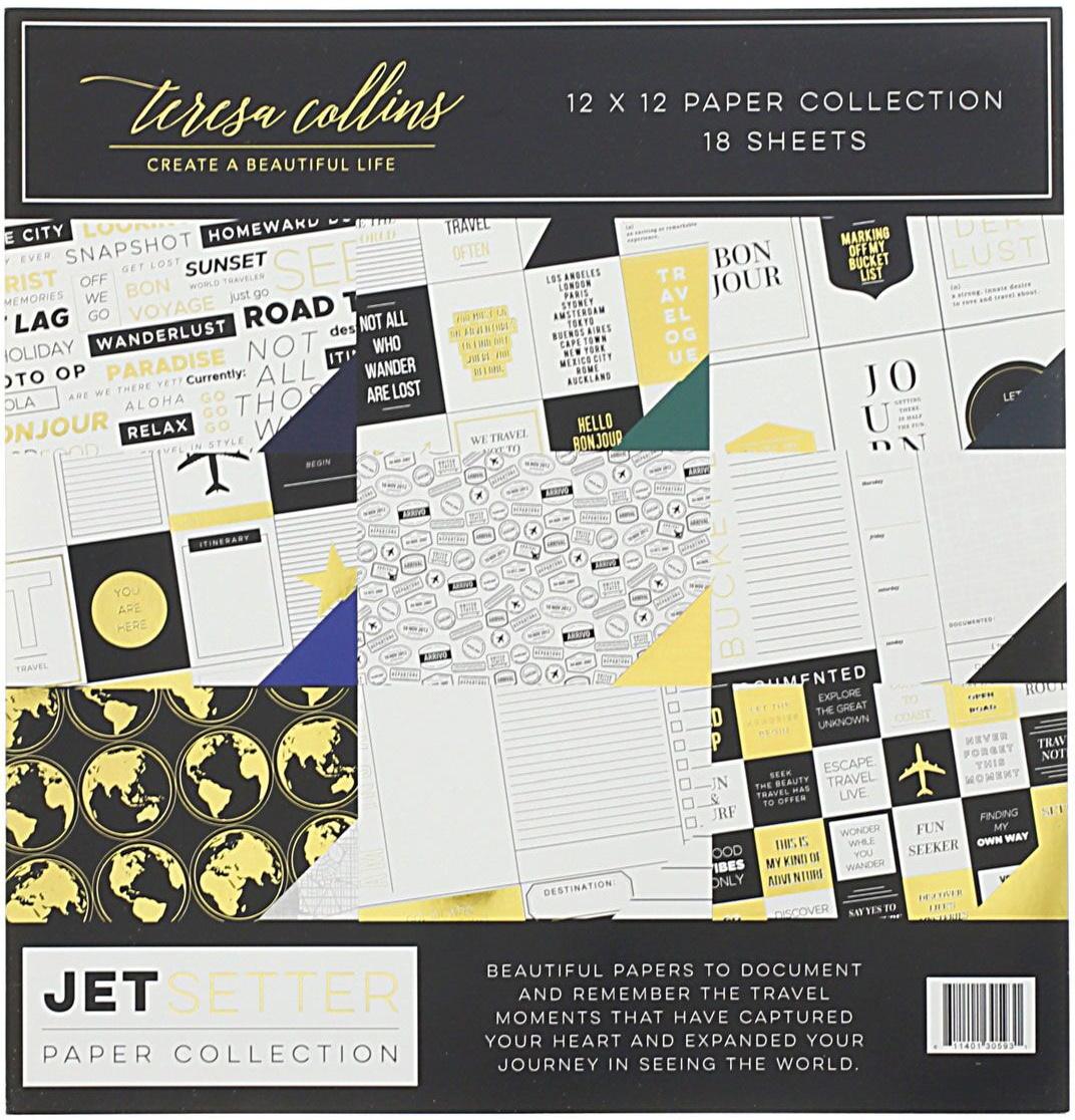 Teresa Collins Paper Collection 12X12 18/Pkg-Jetsetter, 9 Designs/2 Each