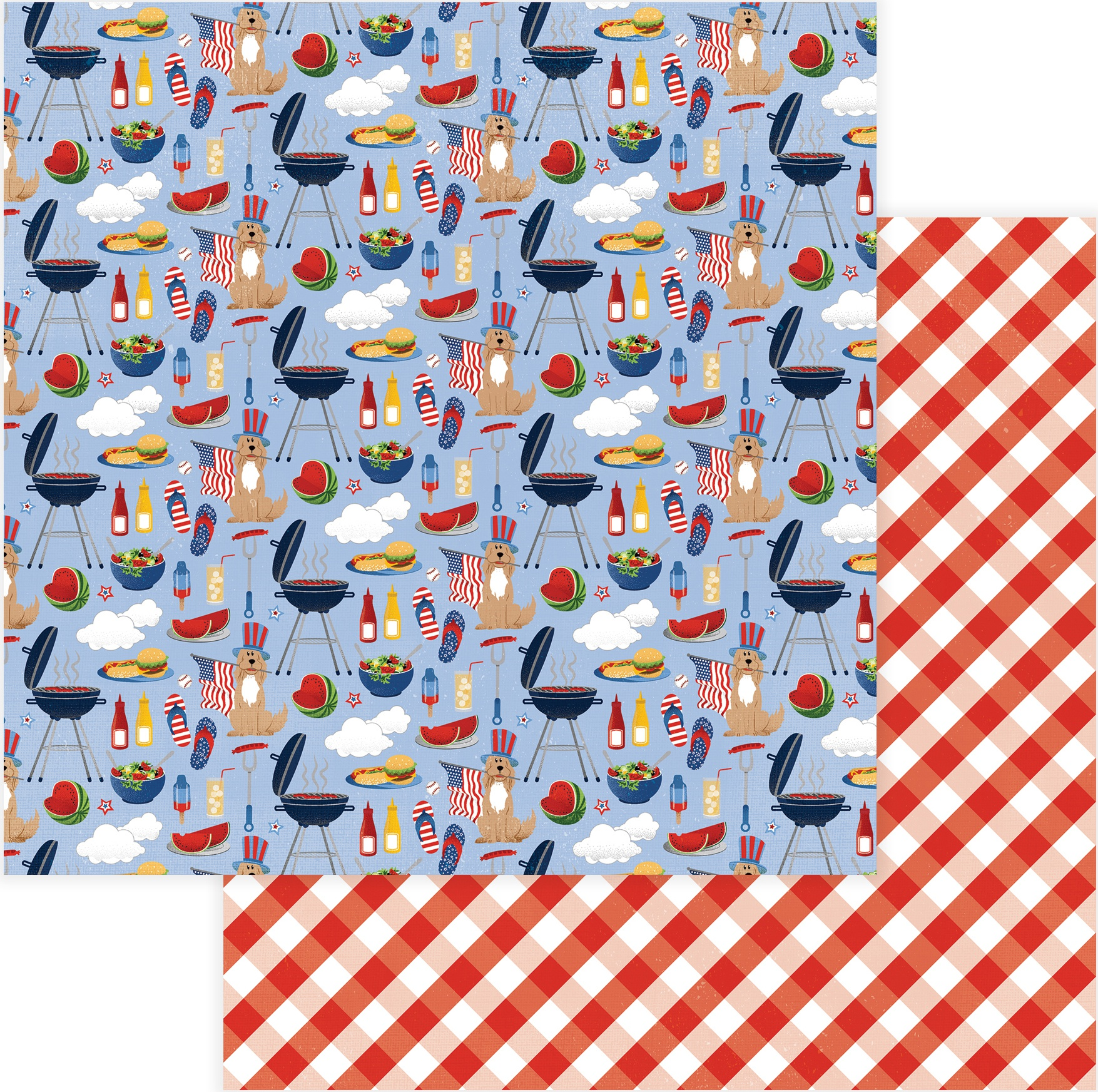 Land Of The Free Double-Sided Cardstock 12X12-BBQ