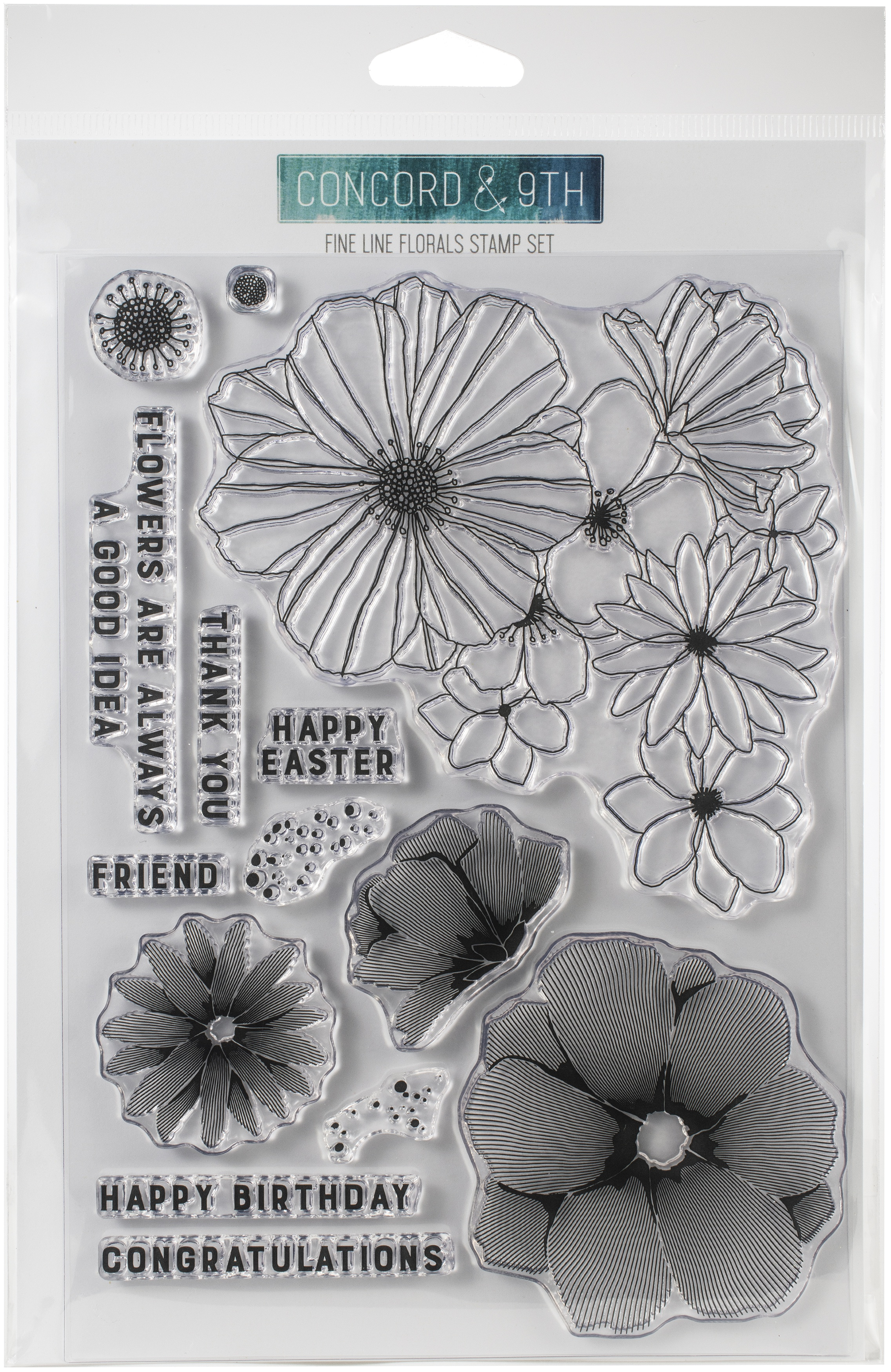 Concord & 9th Clear Stamps 6X8-Fine Line Florals